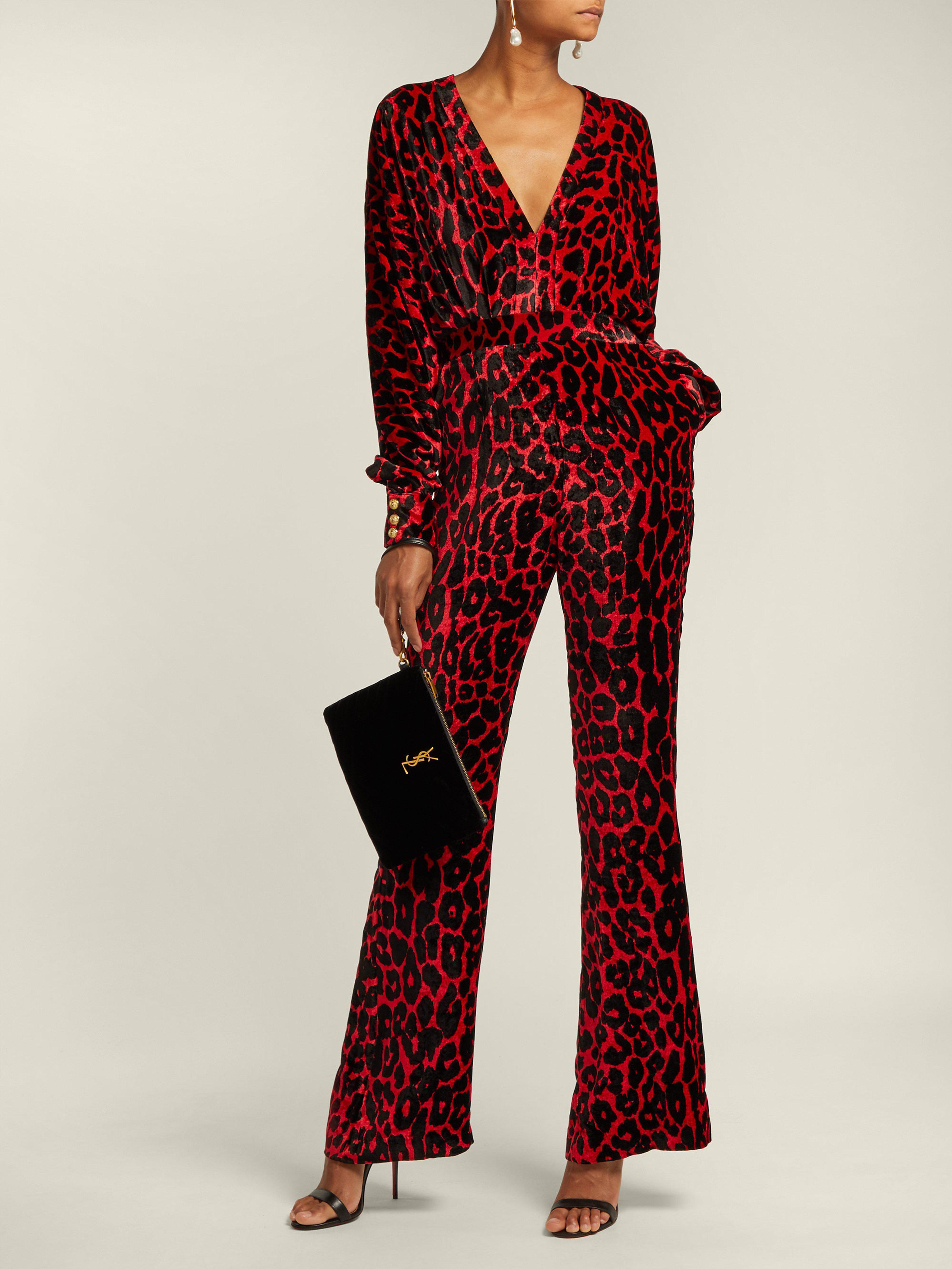 eff9864b262 Balmain Leopard Print Wide Leg Velvet Jumpsuit in Red - Lyst