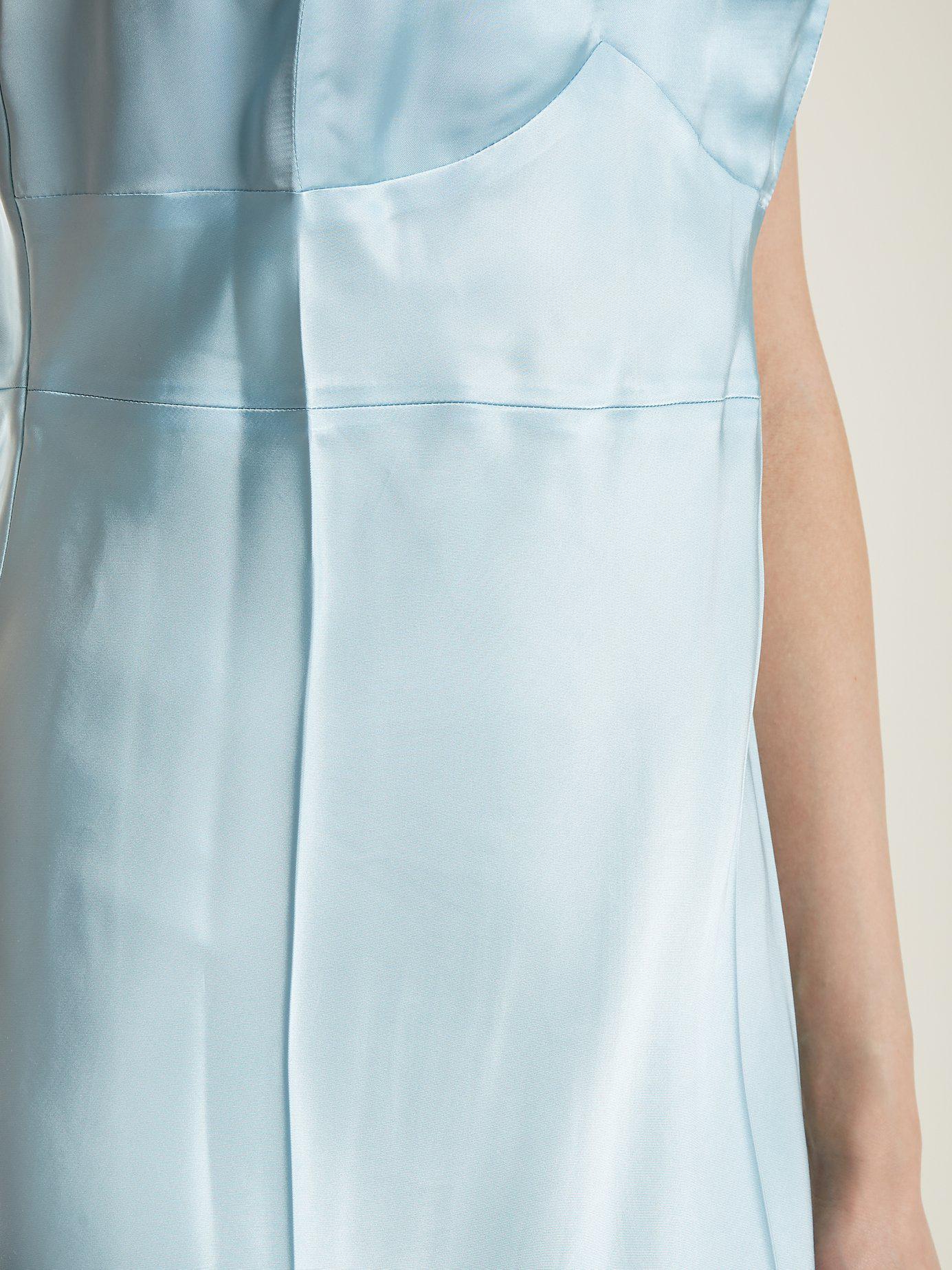 helmut lang v neck satin slip dress in blue lyst