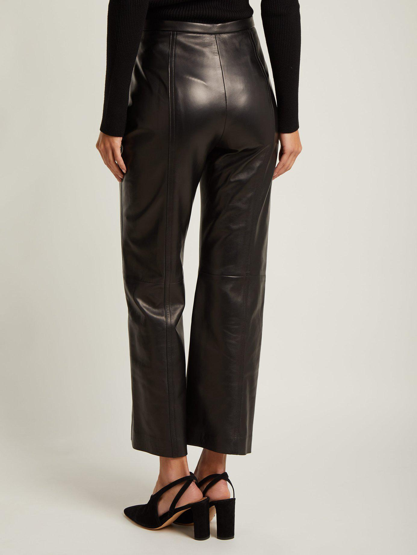 6d066a0eb213ff Khaite Roxanne Straight Leg Leather Trousers in Black - Lyst