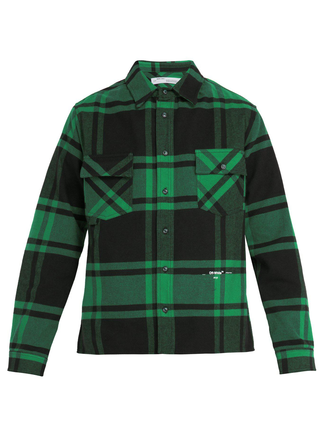 402b3d9dc94f Off-White c o Virgil Abloh. Men s Green Checked Cotton Blend Flannel Shirt