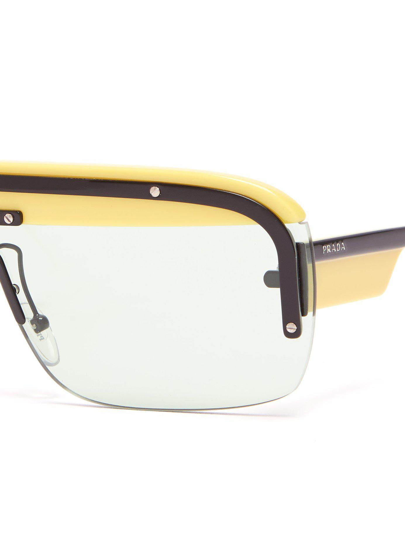 c84d8ee3e9b3 Lyst - Prada Game D Frame Acetate Sunglasses in Yellow for Men