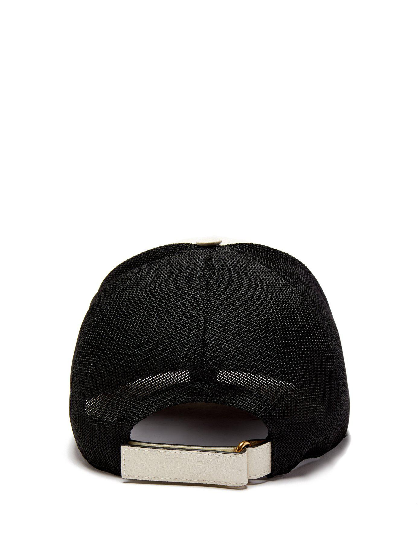 1e015033b52e2 Gucci - Black Vintage Logo Leather And Mesh Cap for Men - Lyst. View  fullscreen
