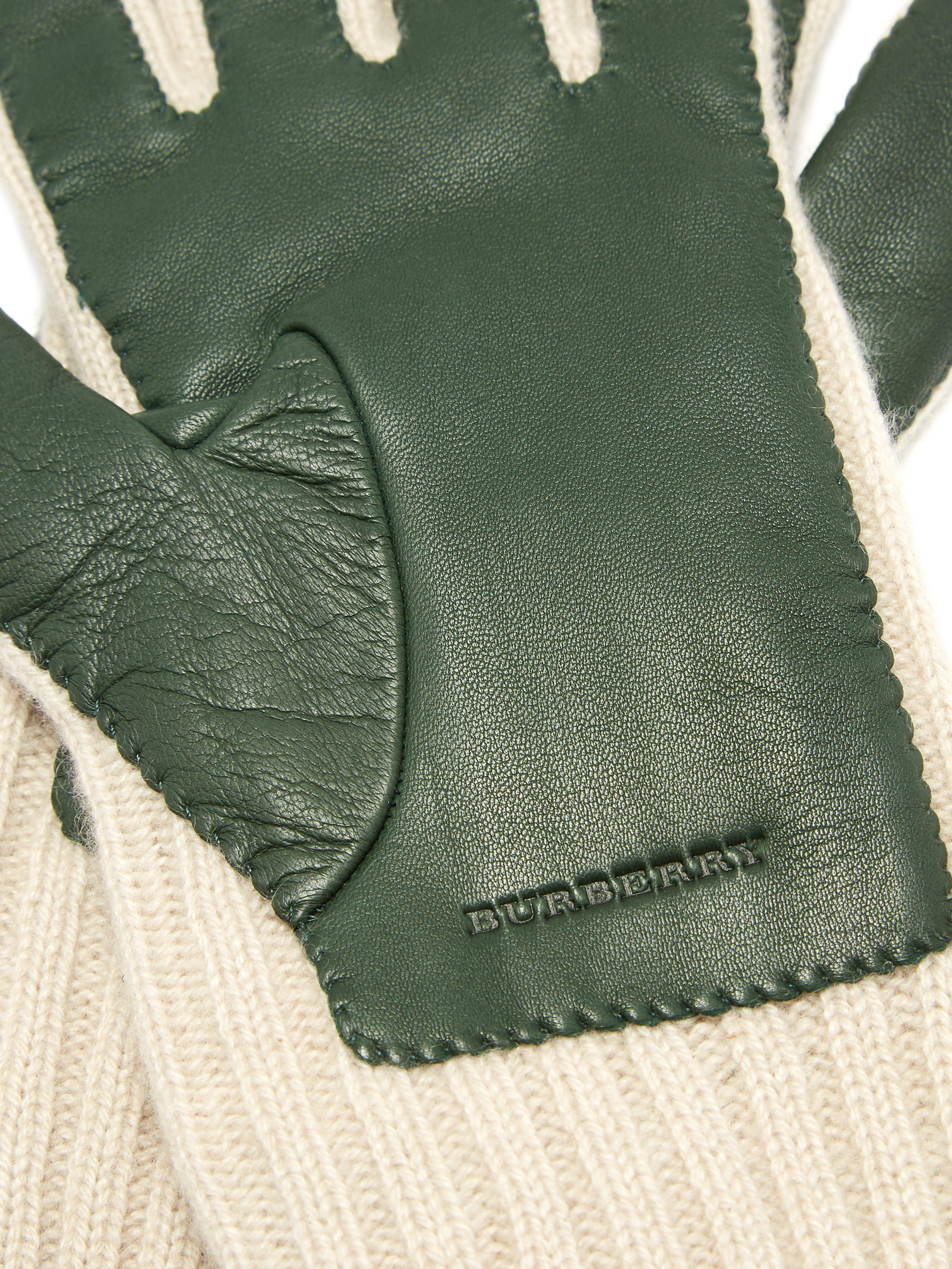 f114e1592a0d0 ... Burberry Green Leather Panelled Cashmere Gloves for men. Visit  MATCHESFASHION.COM. Tap to visit site