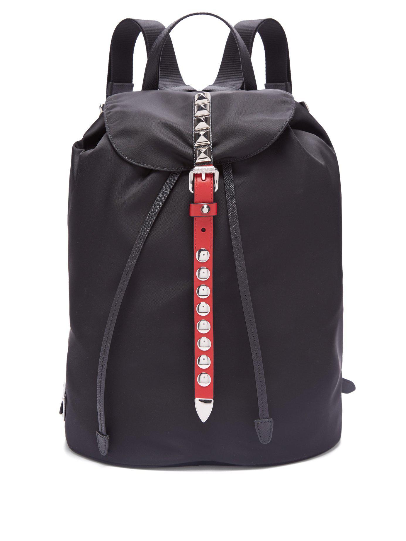 21a88c838b80f5 Prada New Vela Studded Nylon Backpack in Black - Lyst
