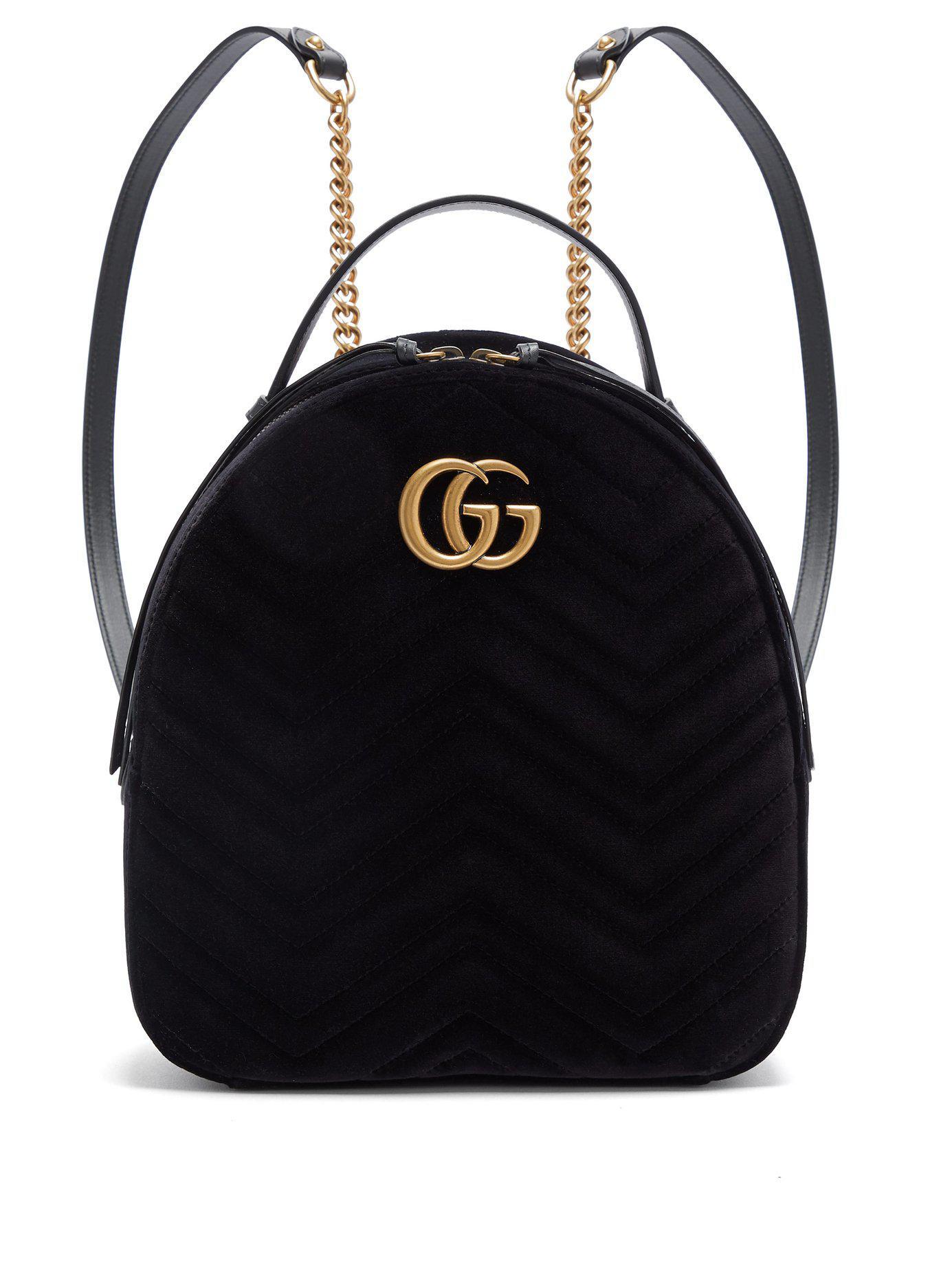 Lyst - Gucci Gg Marmont Velvet Backpack in Black 7a31b771b1e85