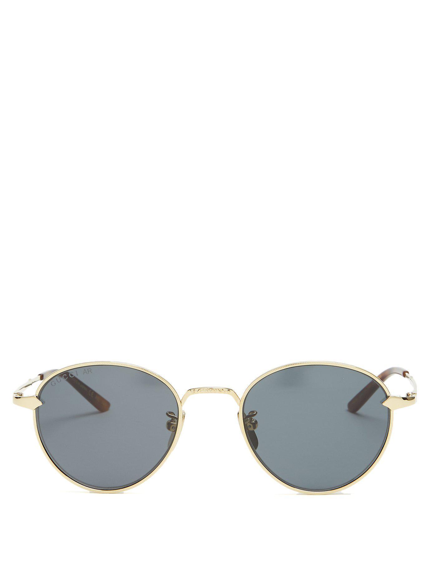 21e28e53ef1 Lyst - Gucci Round Frame Sunglasses in Metallic for Men