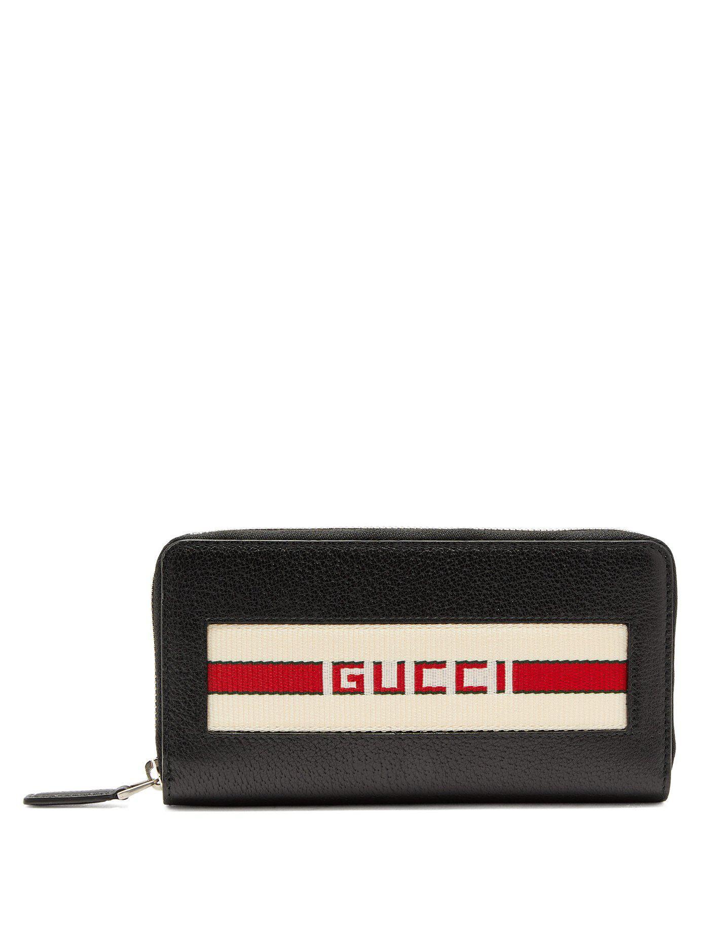 5f9c2f36436d11 Gucci Logo Stripe Jacquard Leather Wallet in Black for Men - Lyst