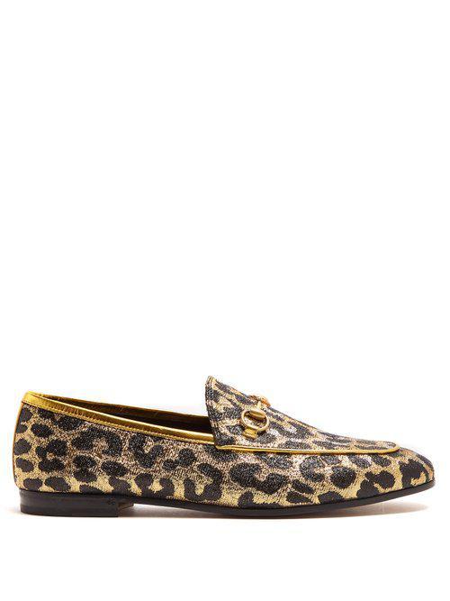 8bf8d98d90e Gucci Jordaan Leopard-jacquard Loafers - Lyst