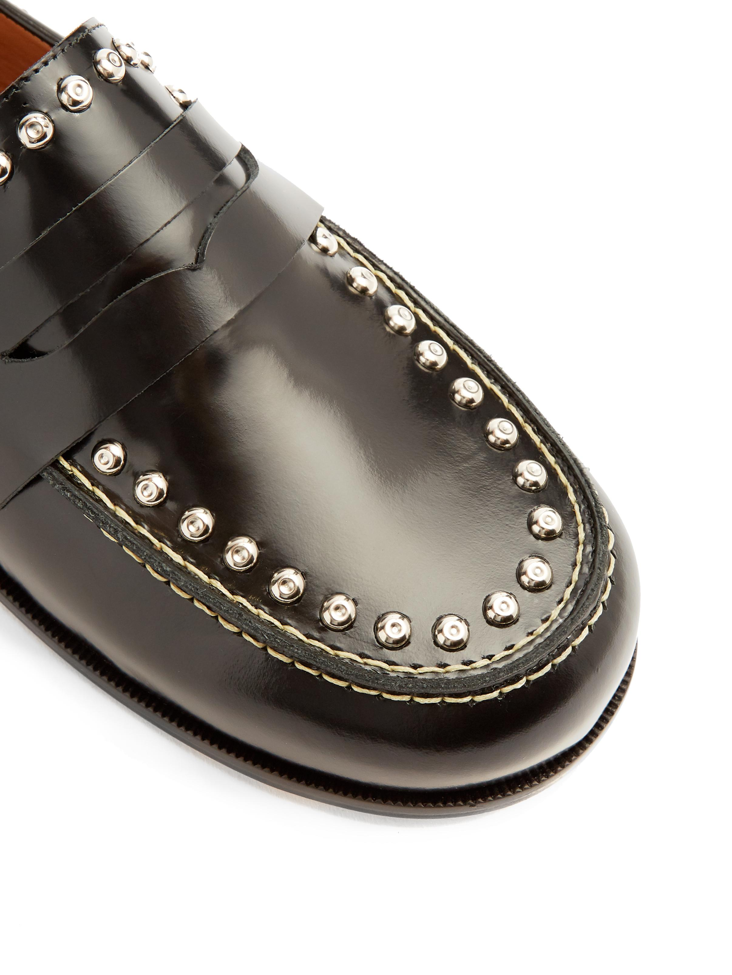 09b54a06415 Lyst - Isabel Marant Fenzay Stud-embellished Leather Loafers in Black