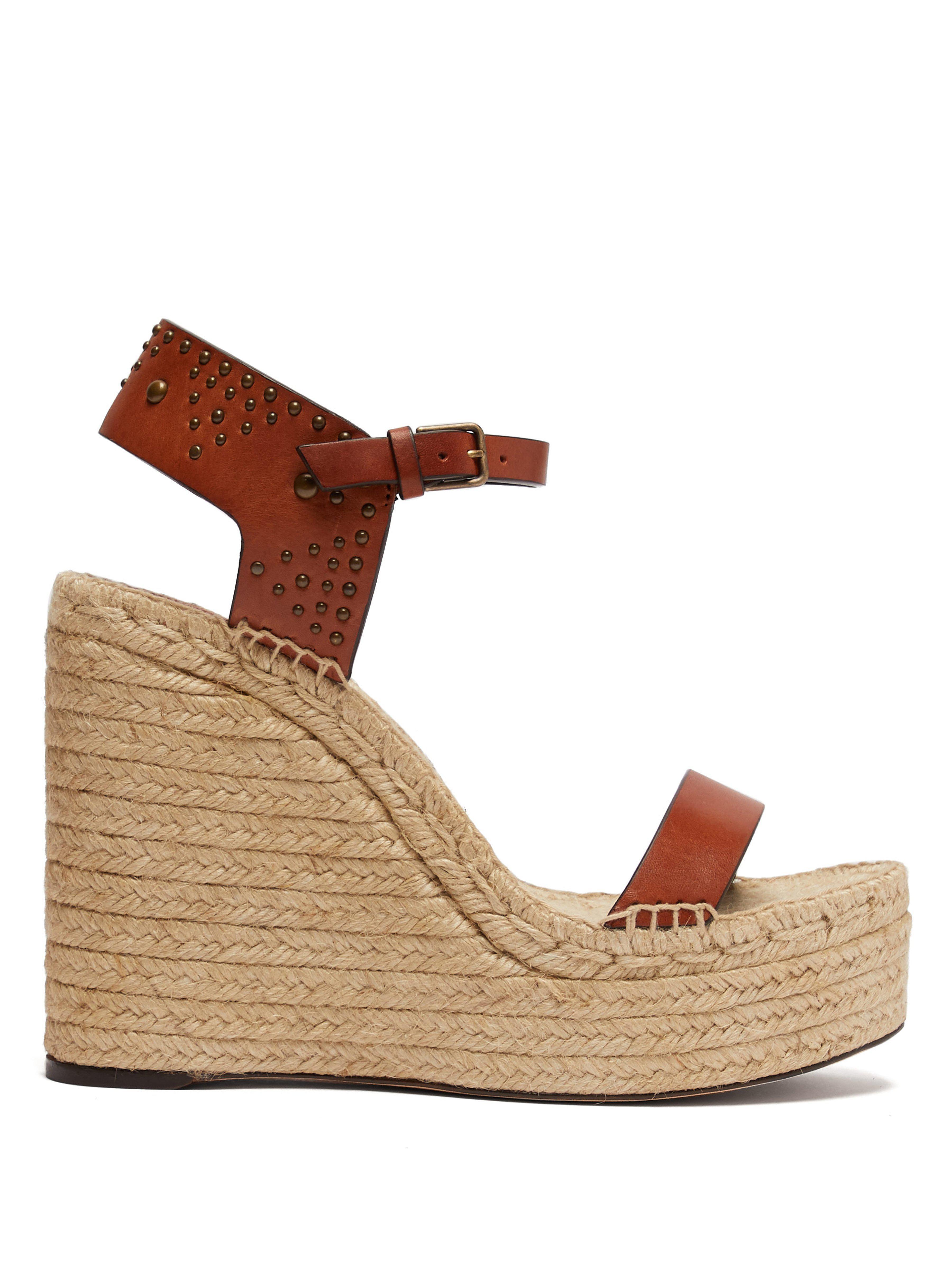 ad1f88f1932 Saint Laurent. Women s Brown Leather Platform Wedge Espadrille Sandal
