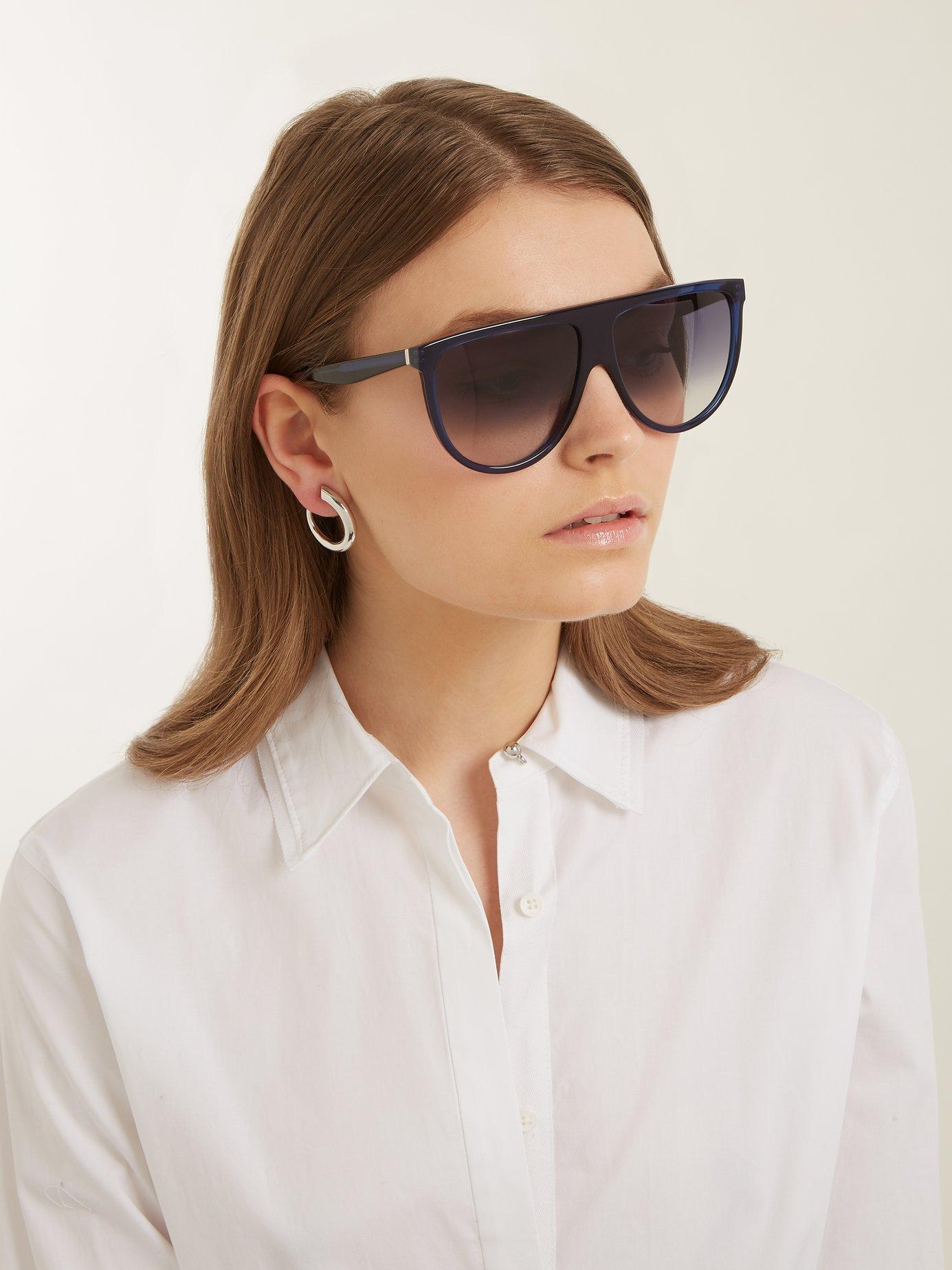 c3a8b95dd05b Lyst - Céline Shadow Aviator D Frame Acetate Sunglasses in Blue