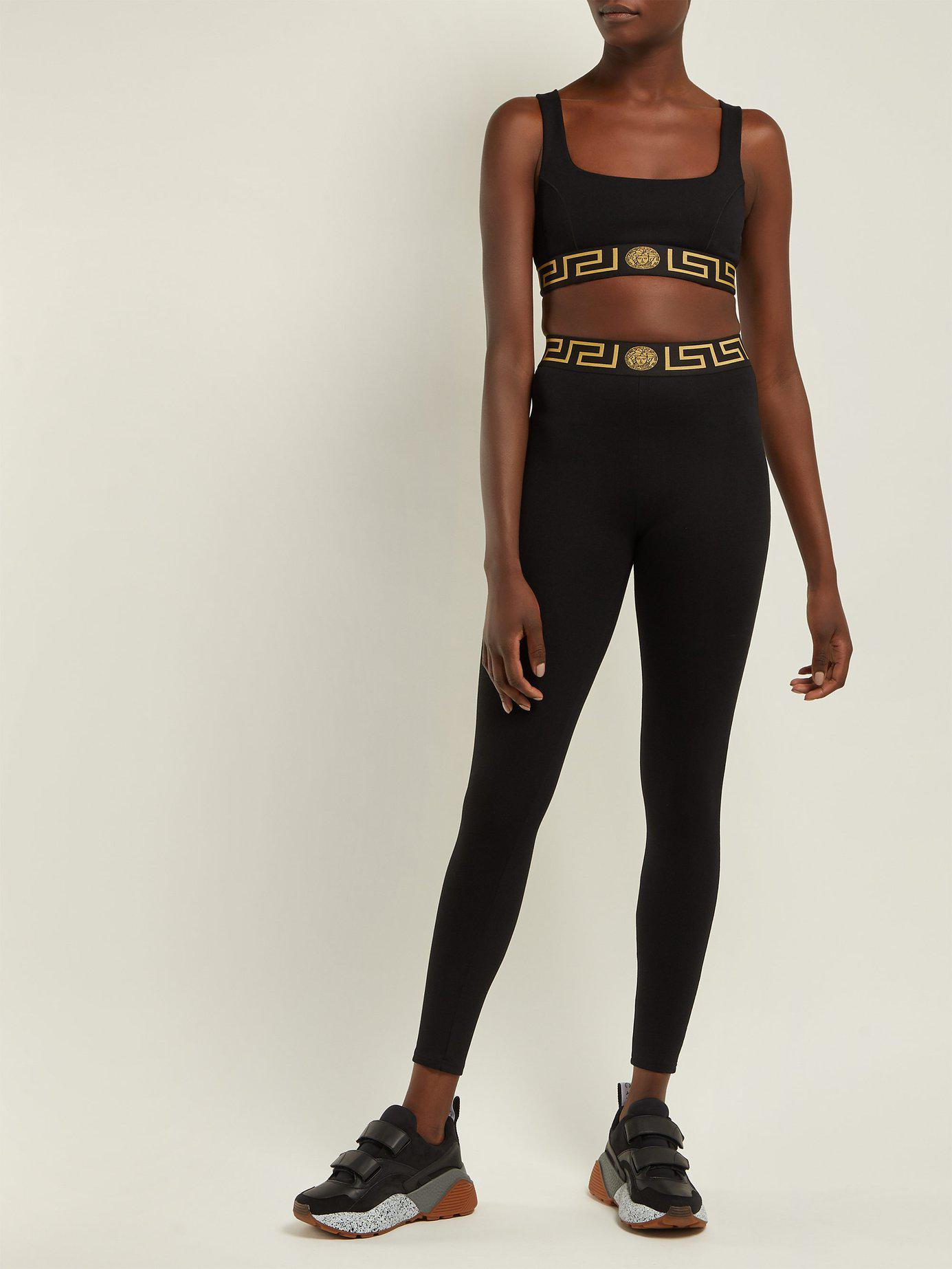 66172202070e60 Lyst - Versace Greek Key Print Sports Bra in Black