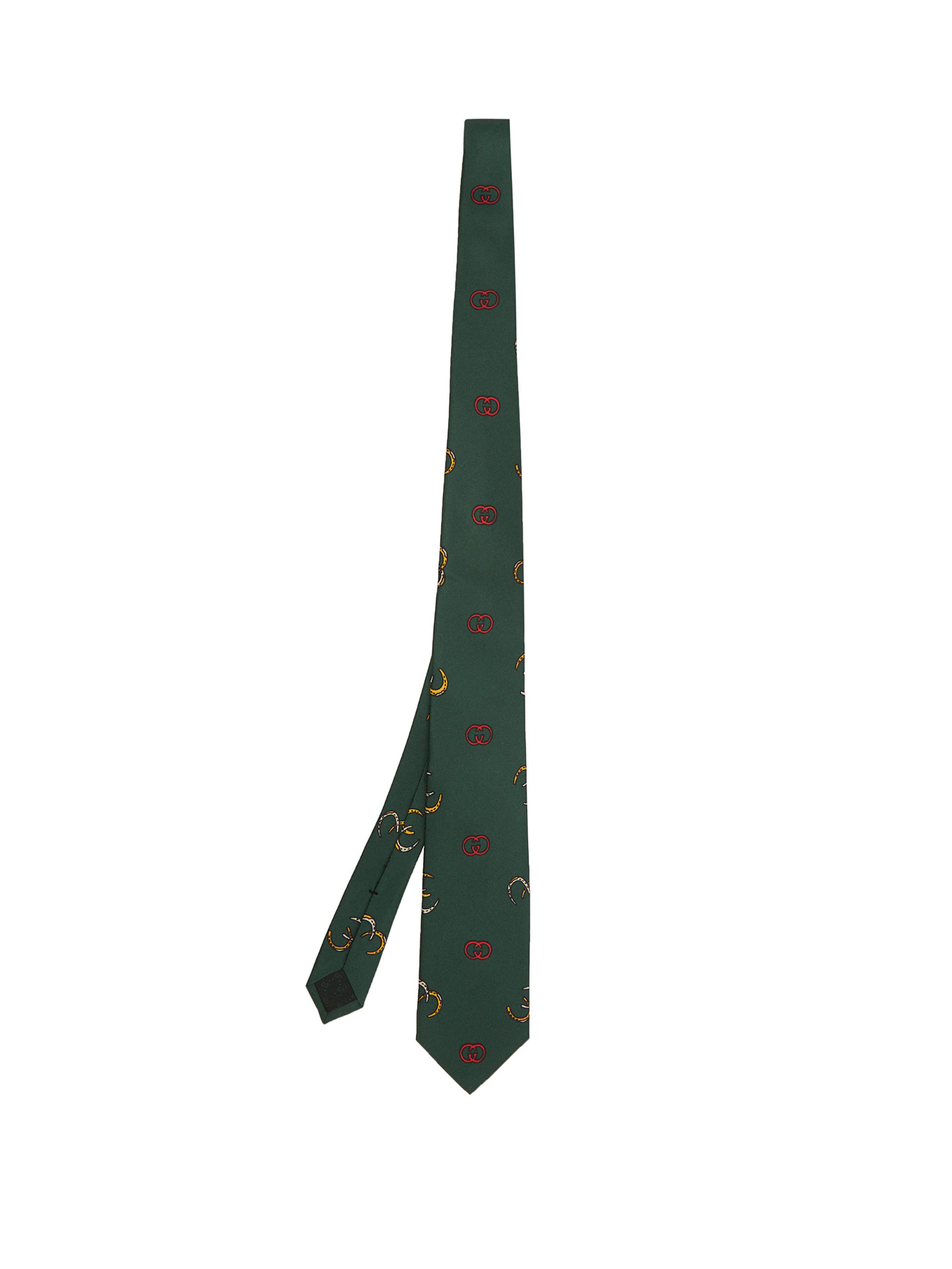 960d10823ed5 Gucci Gg Logo Print Silk Twill Tie in Green for Men - Lyst