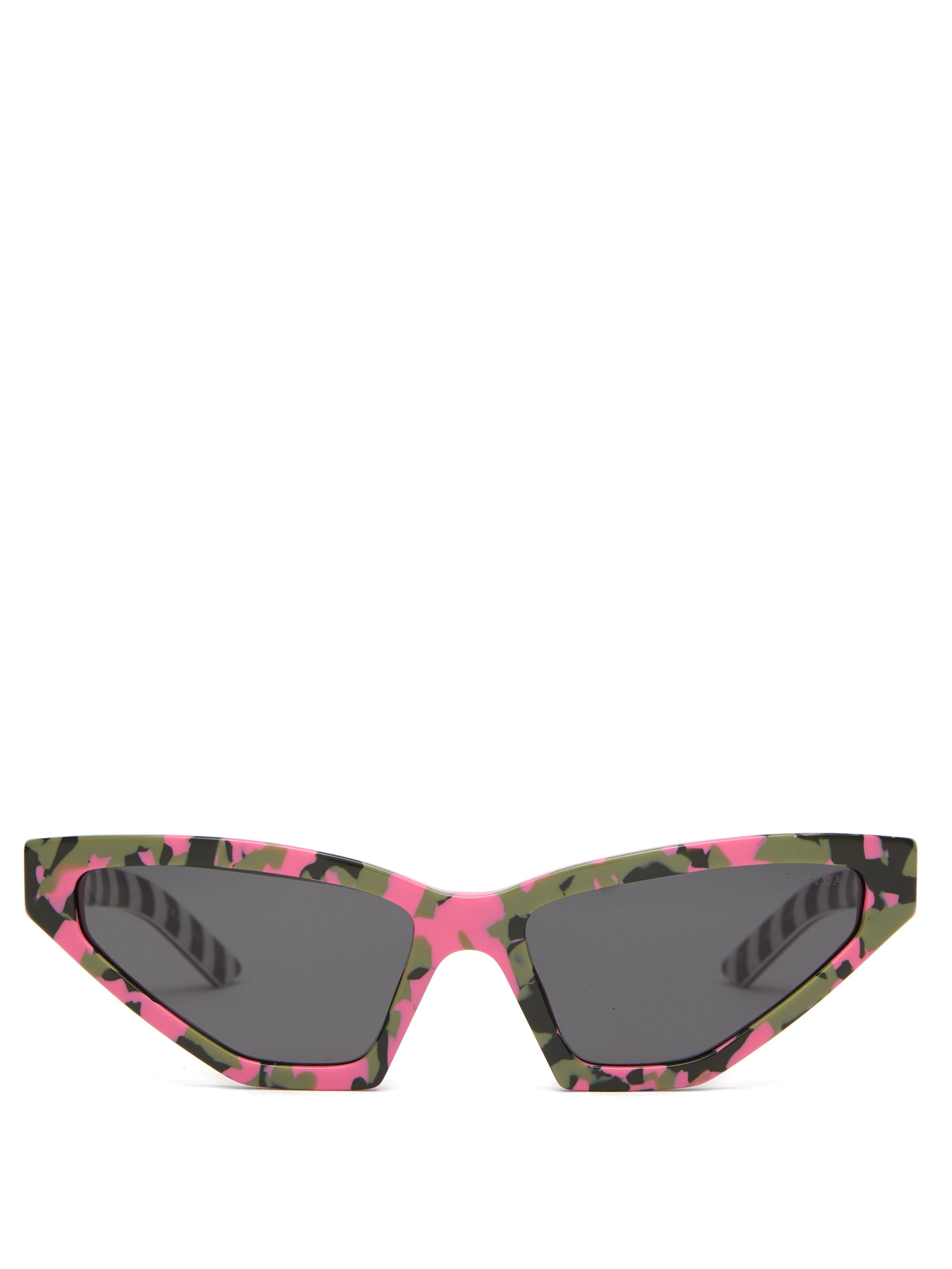 5852fcc89ac Prada Disguise Cat Eye Camouflage Acetate Sunglasses in Pink - Lyst