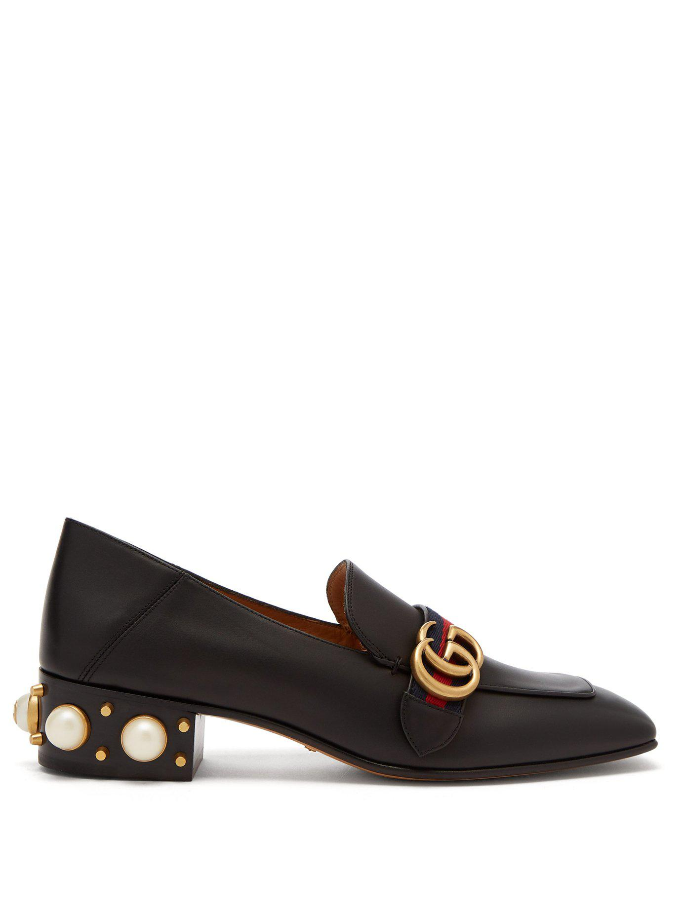 d9c39bc1cd4 Lyst - Gucci Peyton Faux Pearl Embellished Leather Loafers in Black