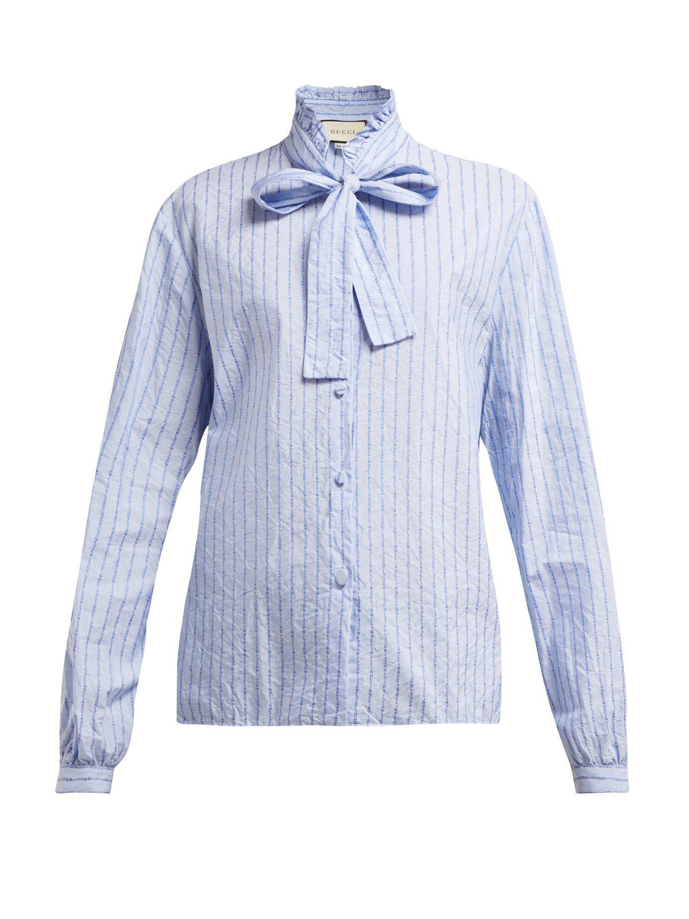 0d22f7c33 Gucci Pussy Bow Striped Logo Jacquard Cotton Shirt in Blue - Lyst