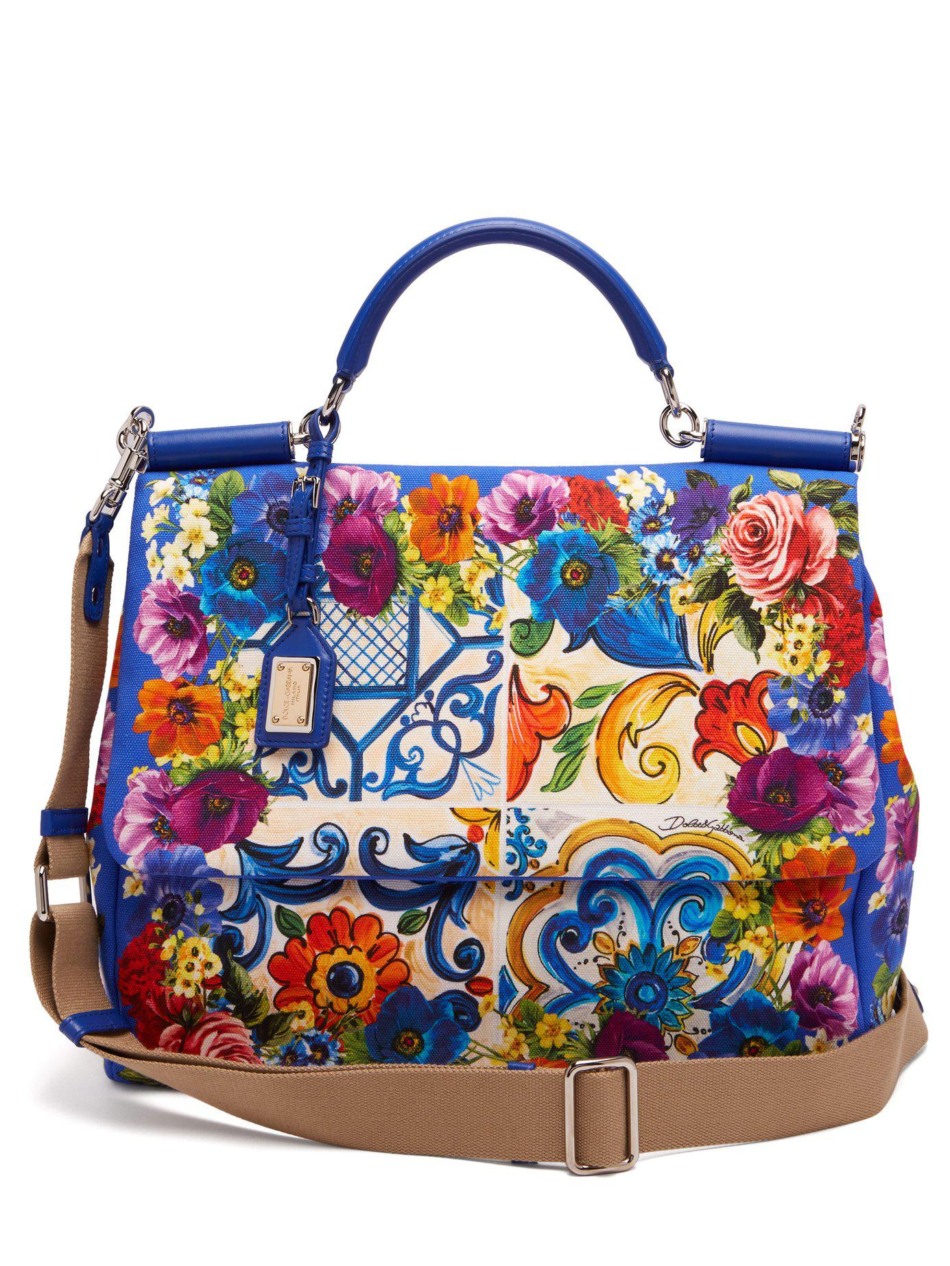 1c810feb30 Lyst - Dolce   Gabbana Sicily Majolica-print Cotton Beach Bag in Blue
