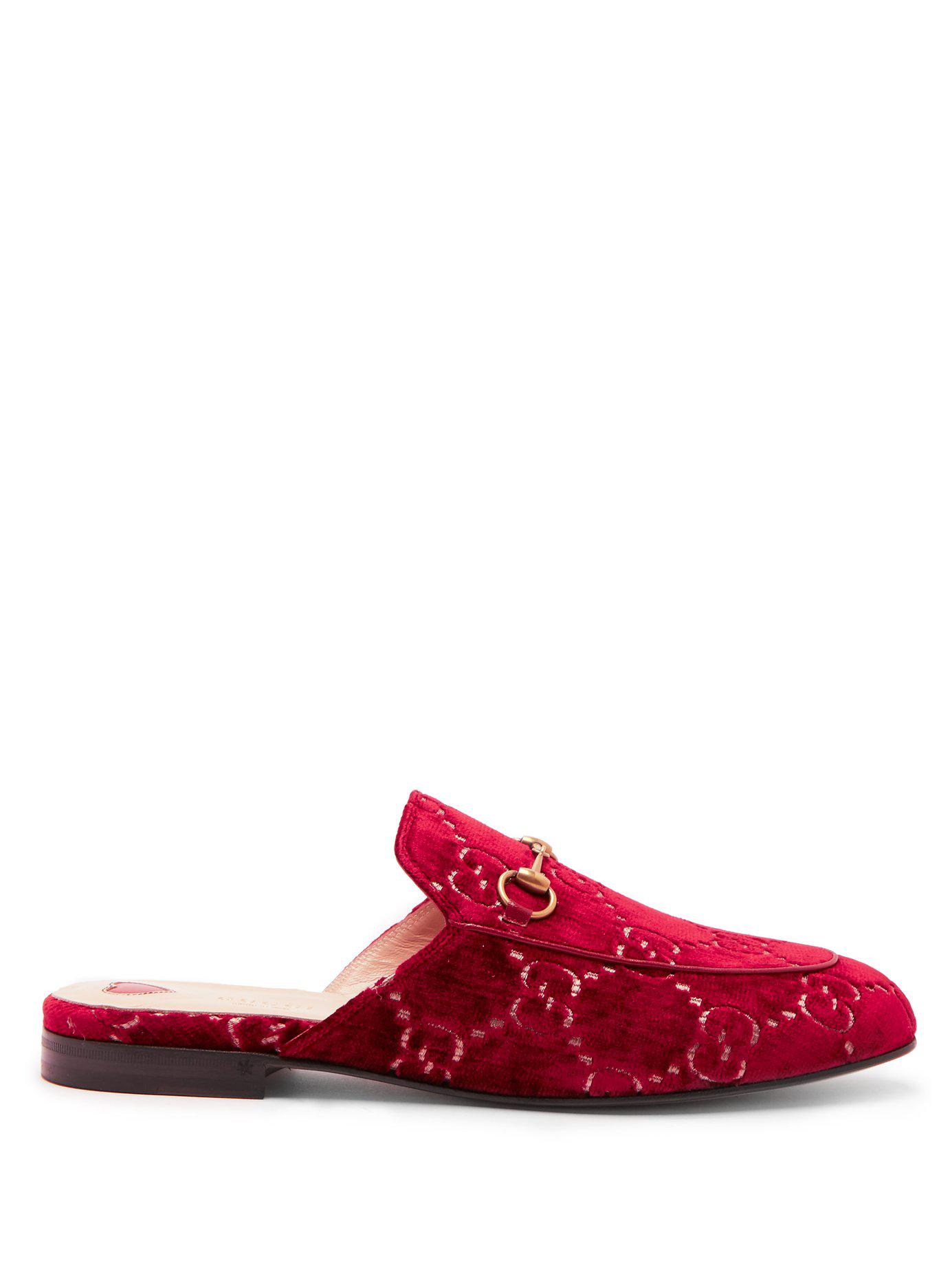 a37fb0c6921 Lyst - Gucci Princetown Velvet Backless Loafers in Red - Save 16%