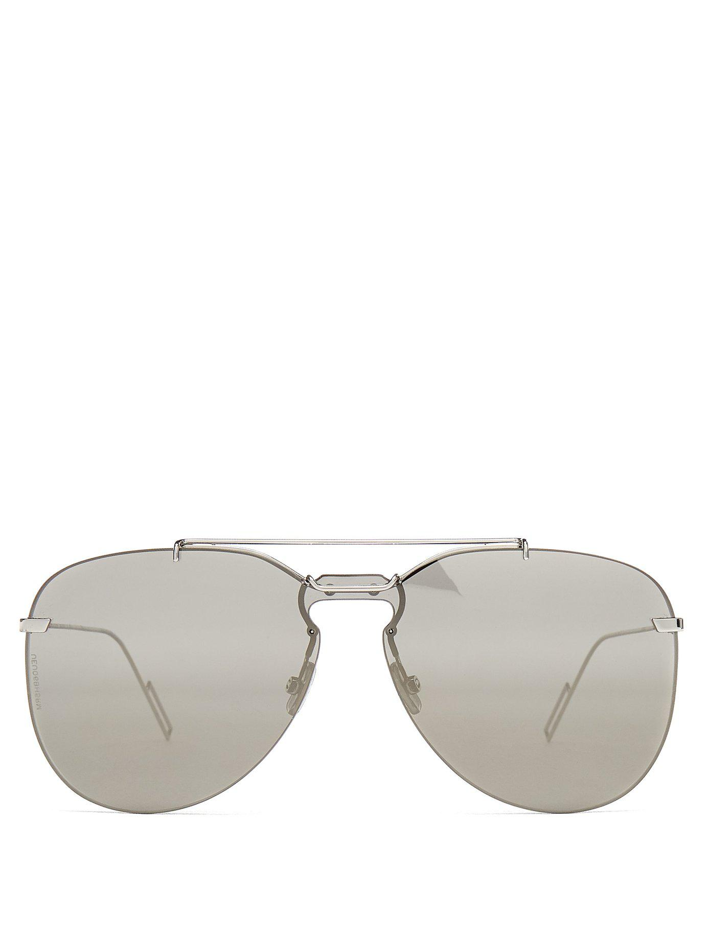 d415d25bdb04 Lyst - Dior Homme Aviator Frame Metal Sunglasses in Metallic for Men