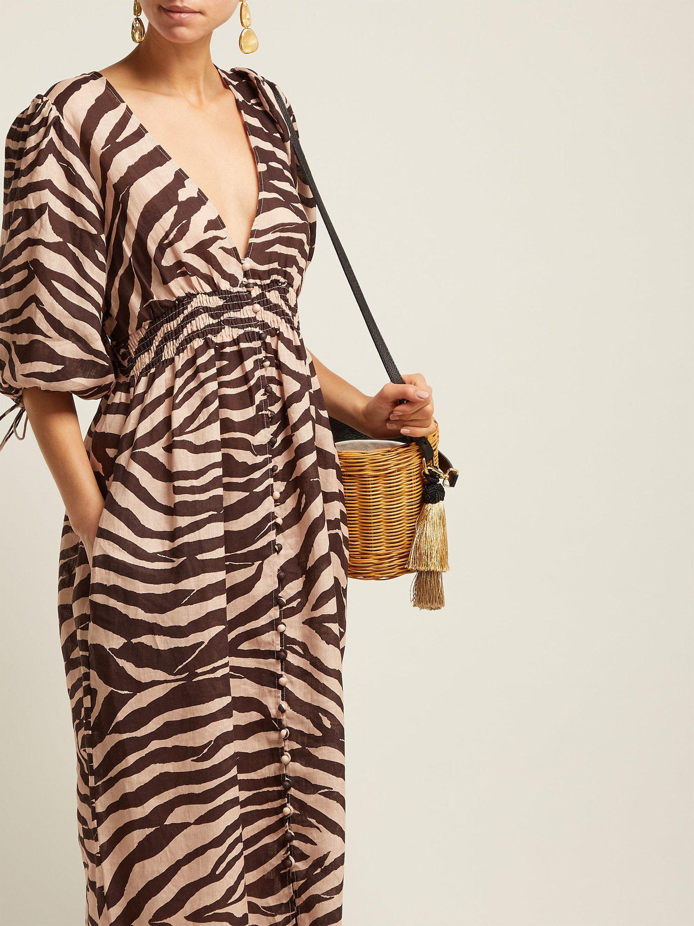 d43fa16b58 Lyst - Zimmermann Zebra Print Linen Midi Dress