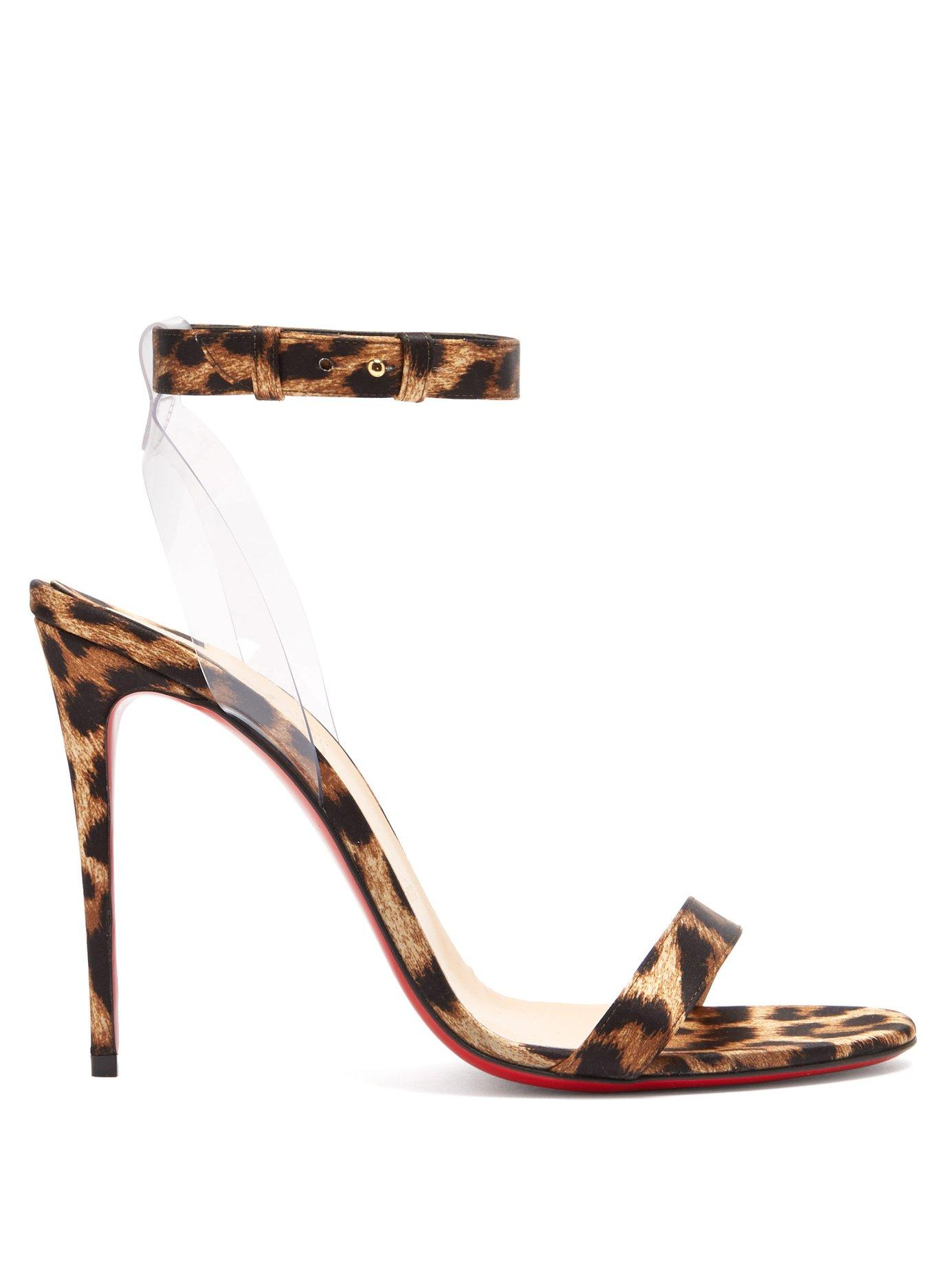 8e1c15cfea30 Christian Louboutin. Women s Brown Jonatina 100 Leopard Print Satin Sandals