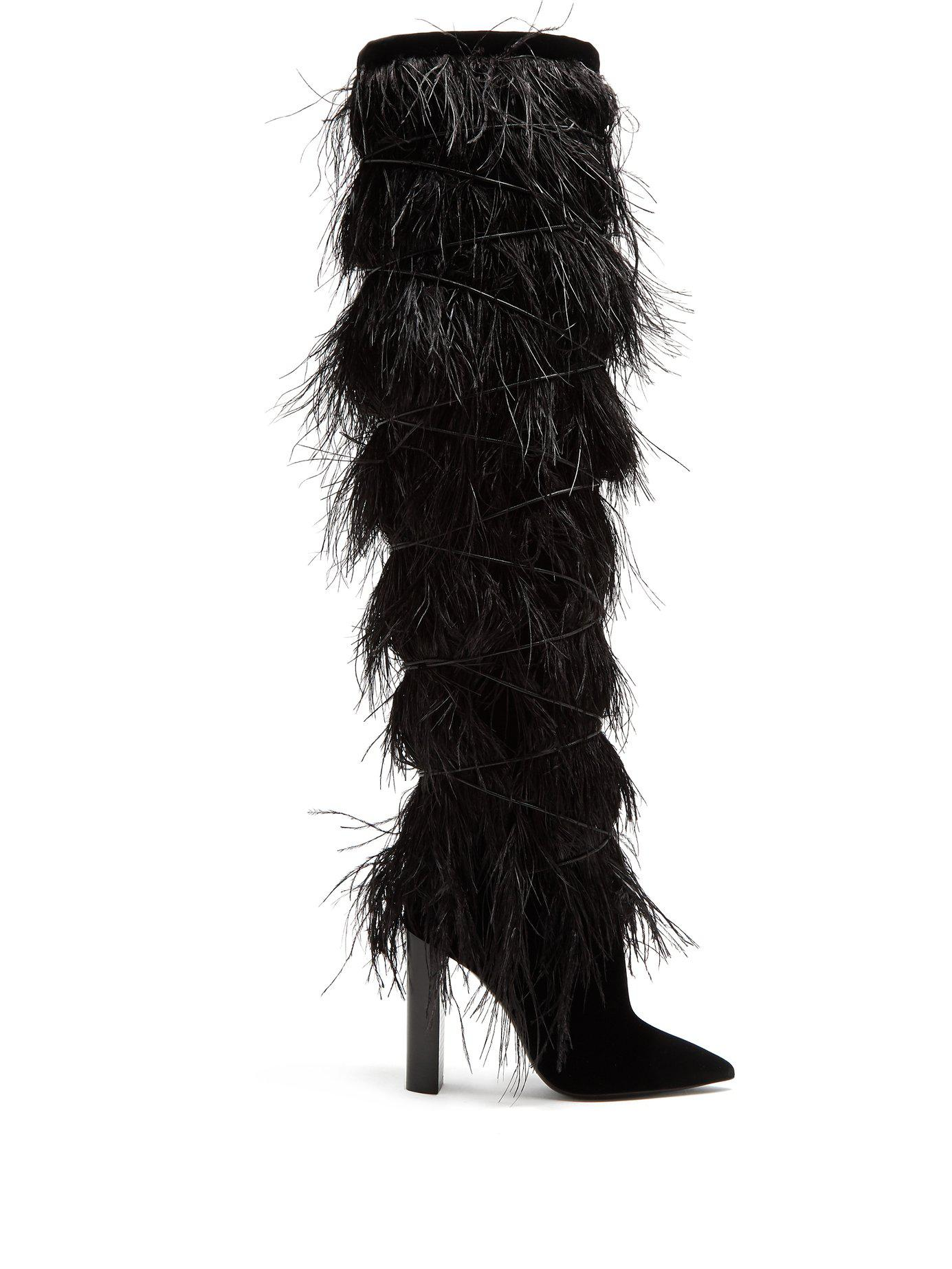 fa1e19da7dc Saint Laurent. Women s Black Yeti Feather Embellished Over The Knee Boots