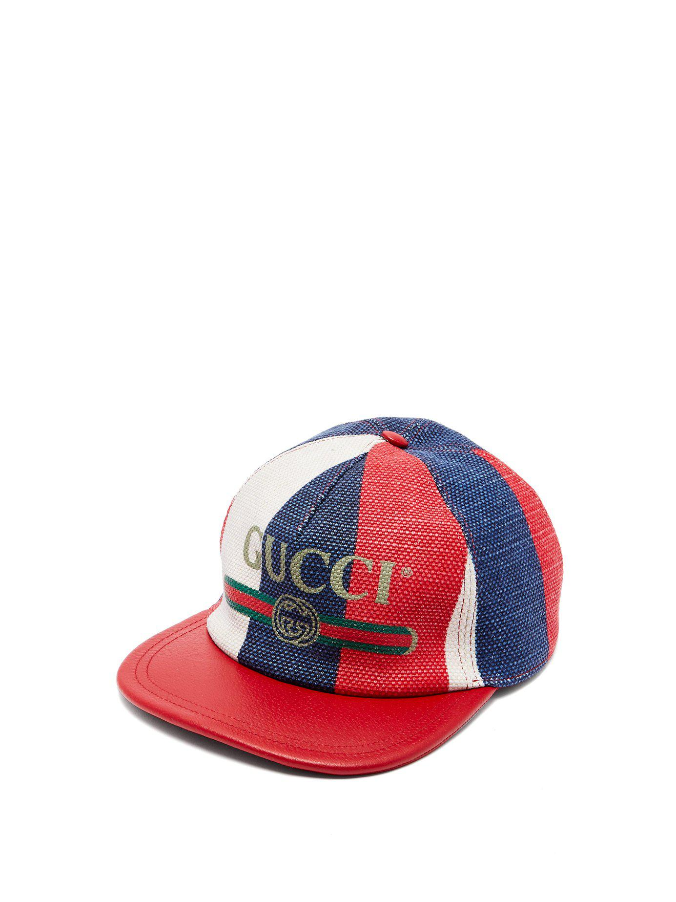 Gucci - Multicolor Logo Embellished Linen Baseball Cap for Men - Lyst. View  fullscreen 084f9aae47db