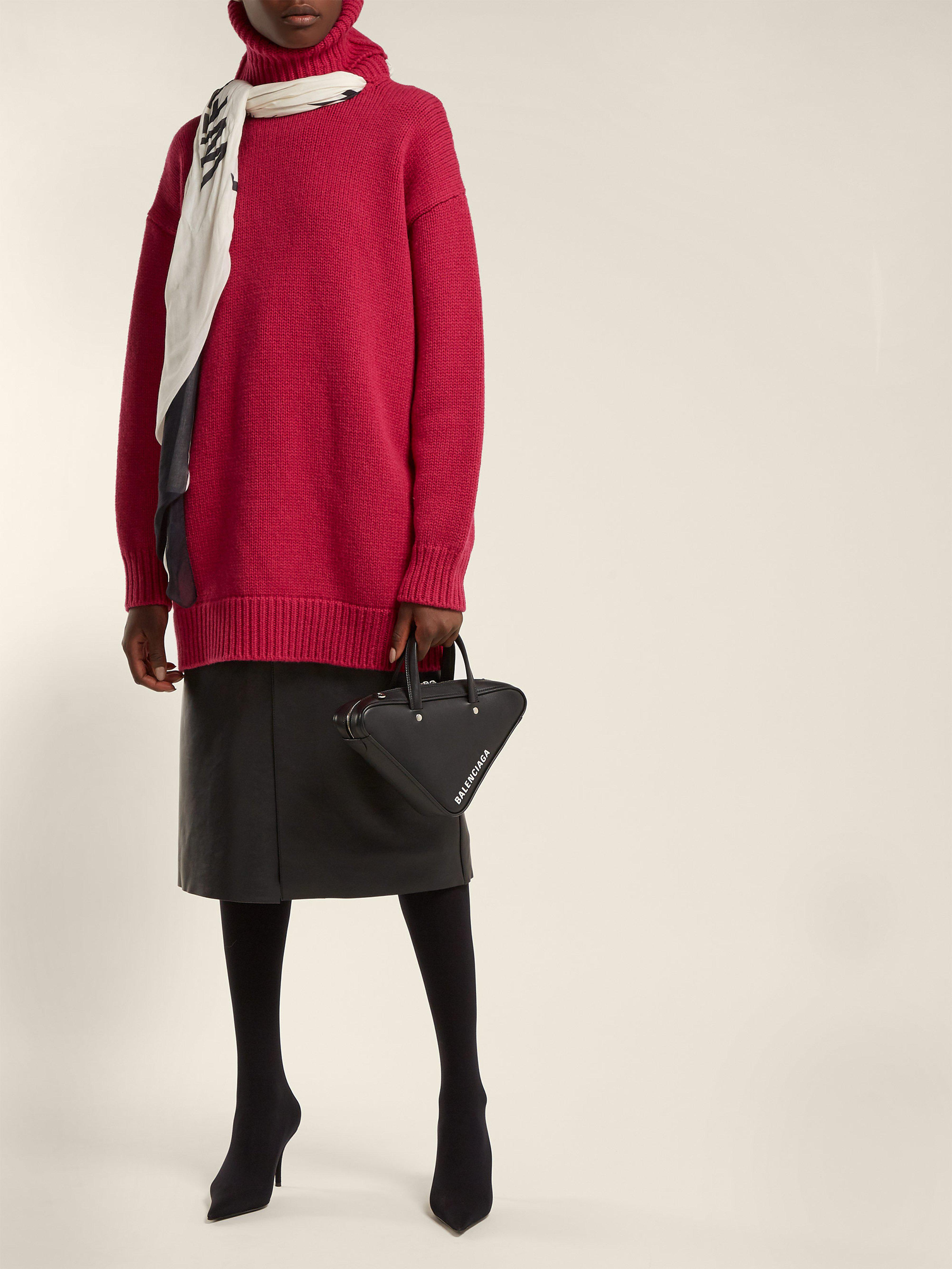 Balenciaga - Red Scarf Roll Neck Wool Sweater - Lyst. View fullscreen 8e8eb0d94