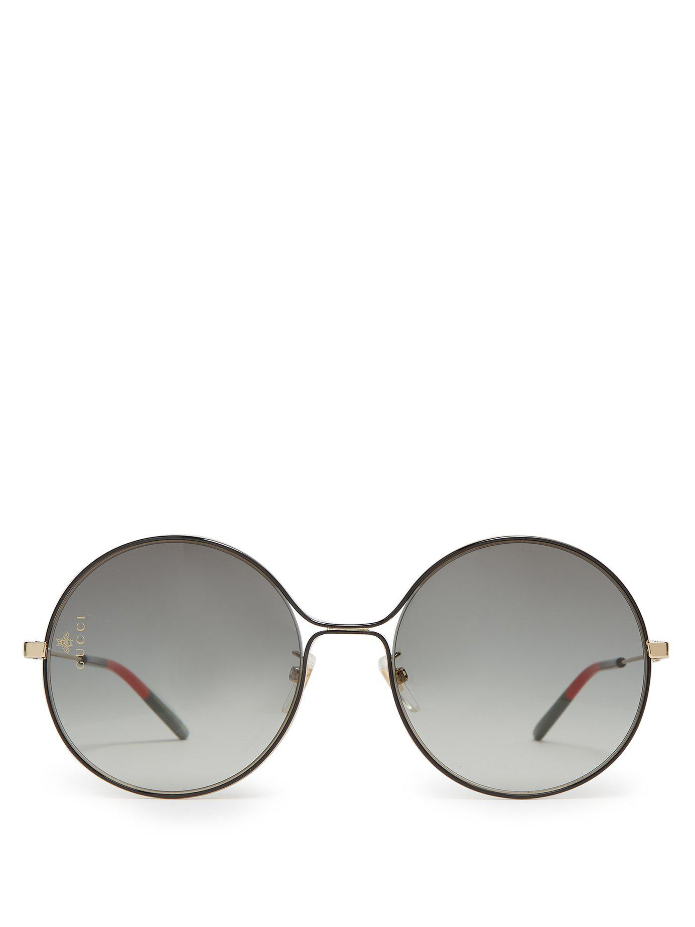 7aca128b532 Gucci - Multicolor Gg Rounded Frame Metal Sunglasses - Lyst. View fullscreen