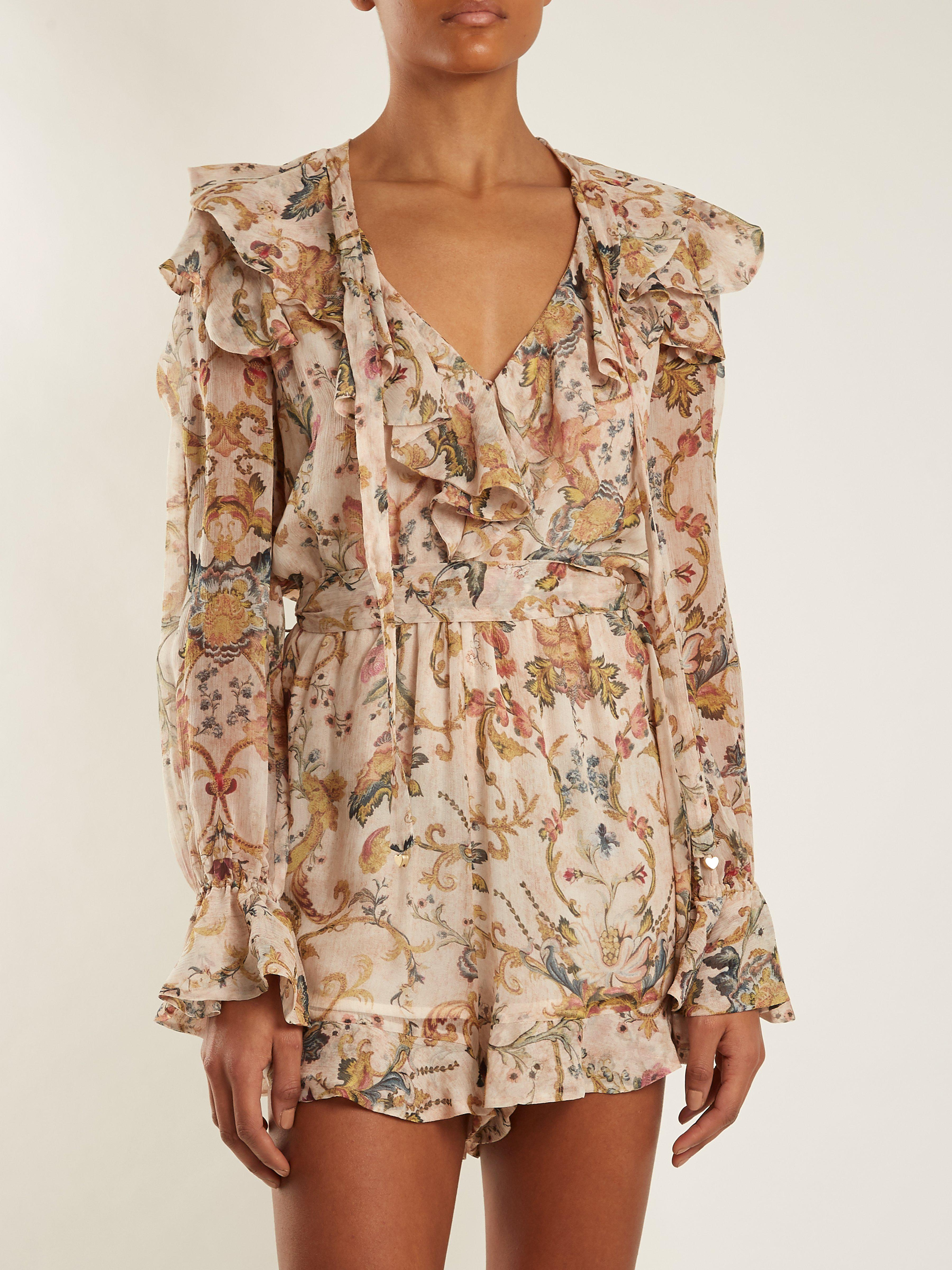 8f8ebe7931 Zimmermann Painted Heart Cascade Floral Print Silk Playsuit - Lyst