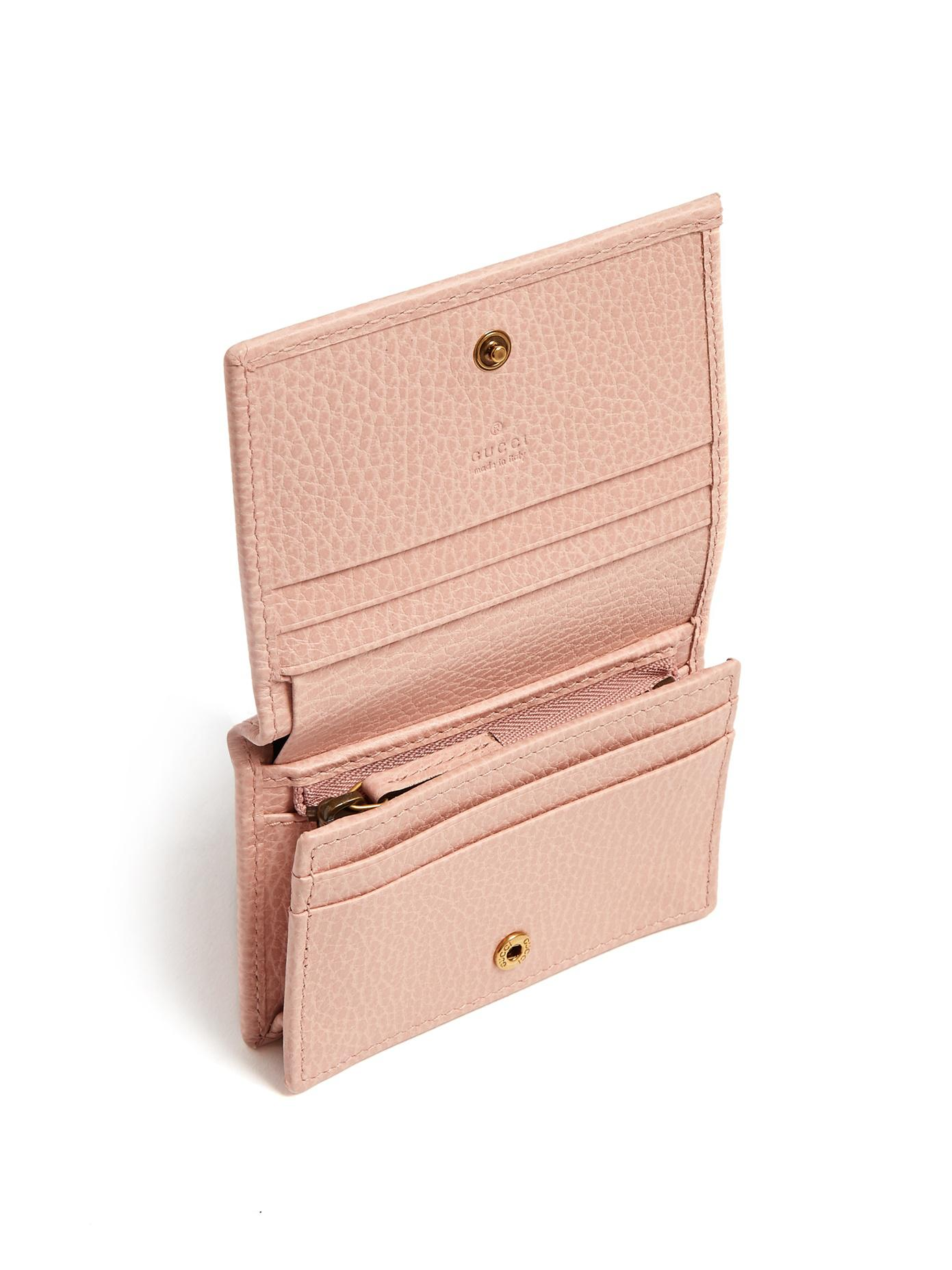 6f2d3b2046f525 Gucci Butterfly-embellished Leather Wallet in Pink - Lyst
