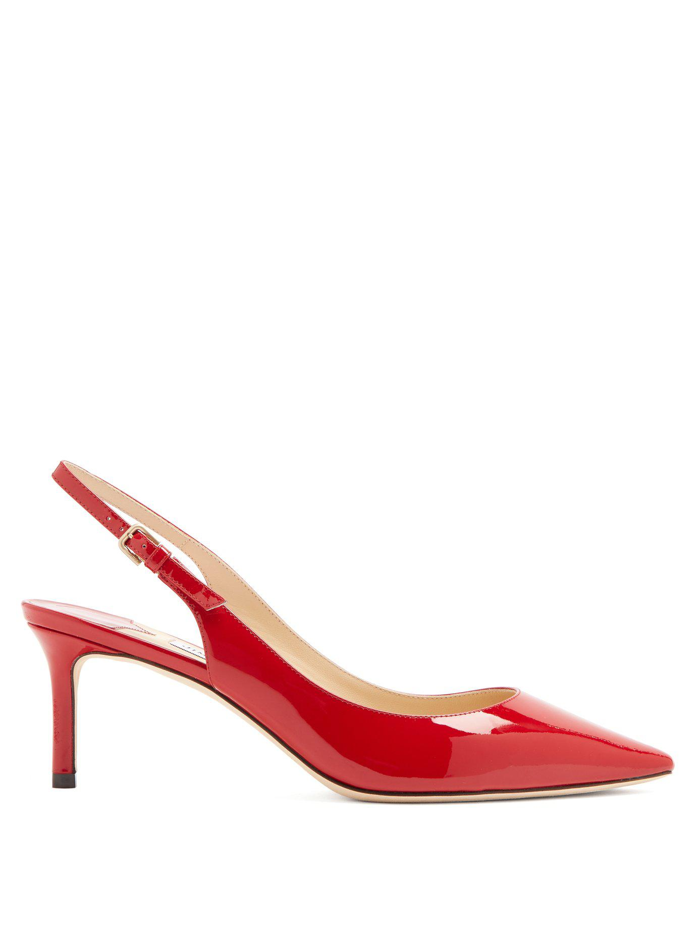 ad4e10bd94d7 Lyst - Jimmy Choo Erin 60 Slingback Patent Leather Pumps in Red