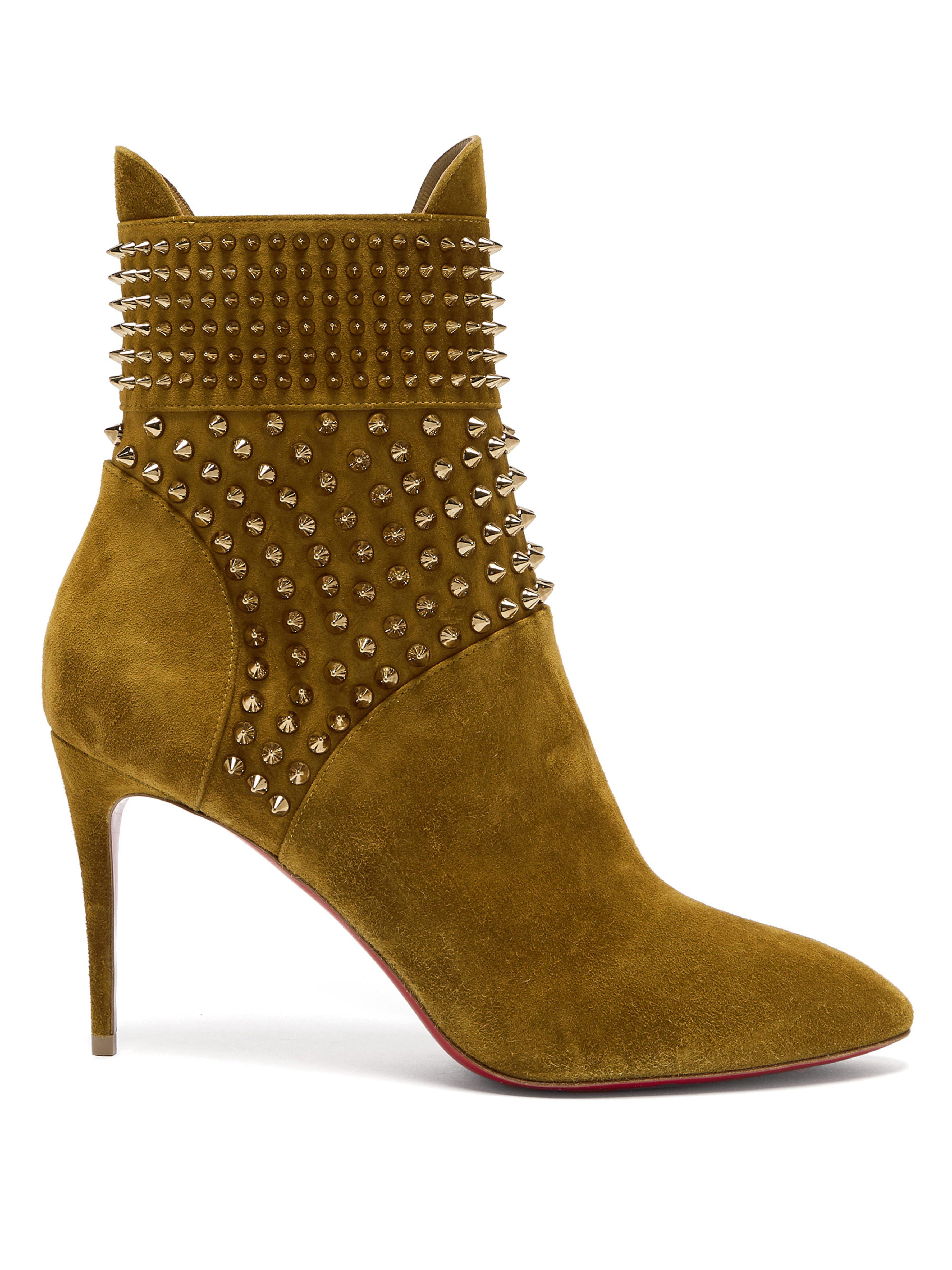 2df54ebcb6e0 Christian Louboutin Hongroise 85 Studded Suede Boots in Natural - Lyst