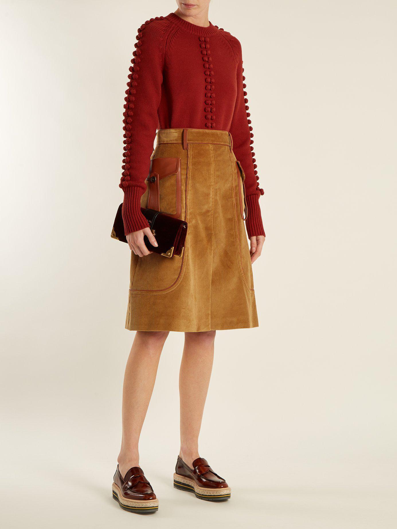 23c7ccf1e518b4 Jupe en velours côtelé de coton à finitions cuir Prada en coloris ...