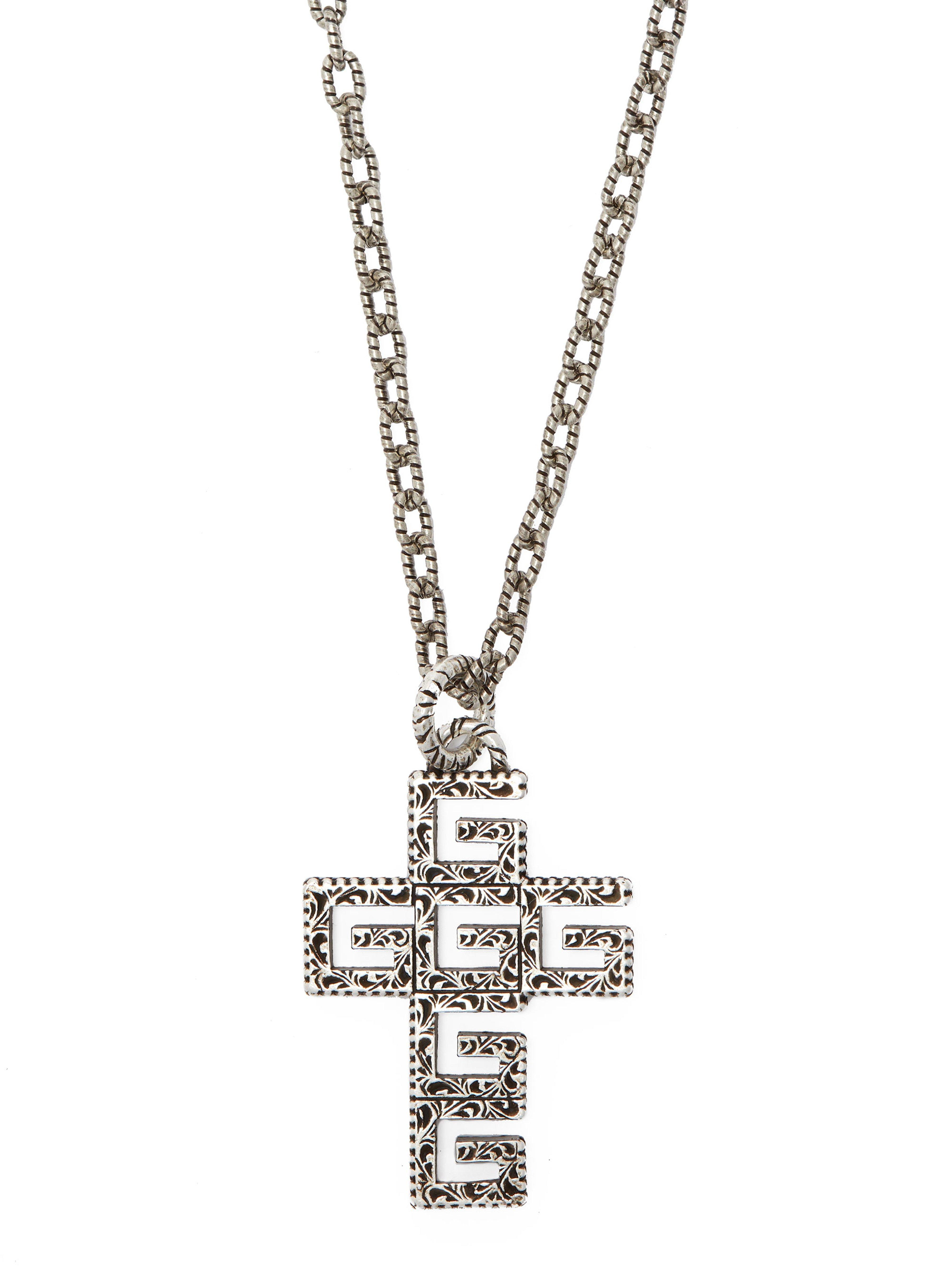99b72e754 Gucci G Cross Sterling Silver Necklace in Metallic for Men - Lyst