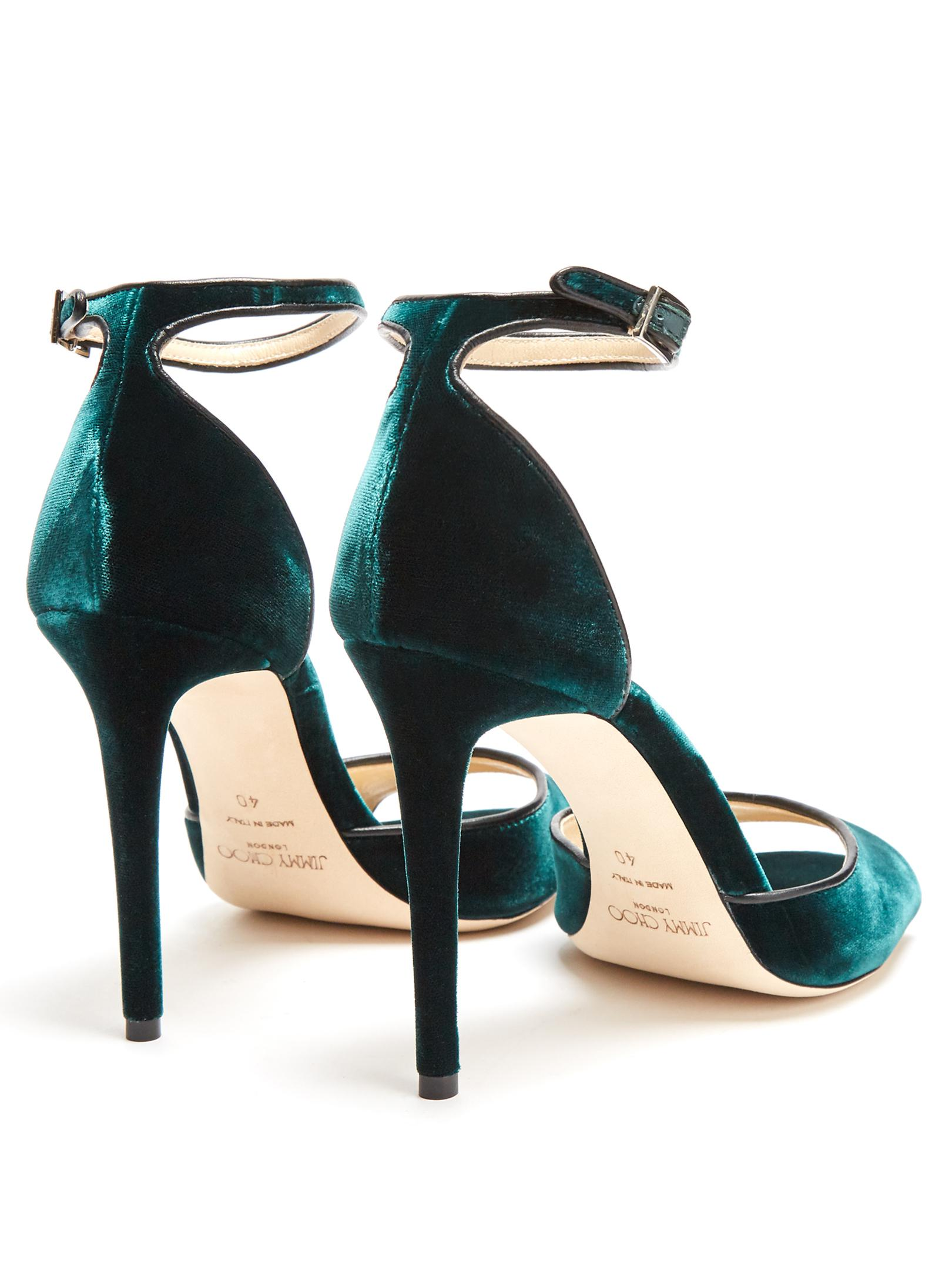 913fbaeb568 Lyst - Jimmy Choo Annie 100mm Crushed-velvet Sandals in Green