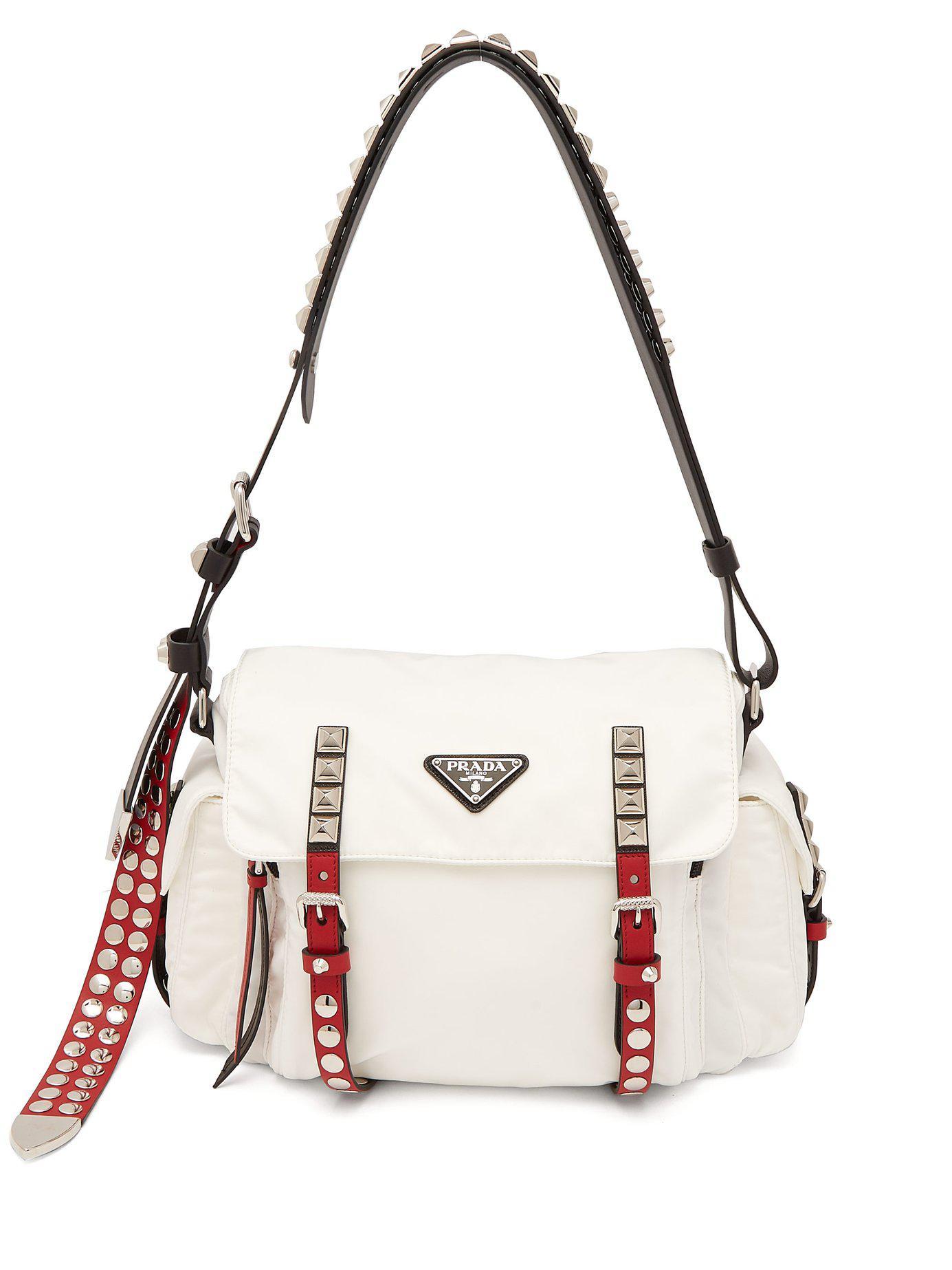 3661b65ee2d9 Prada - White Vela Leather Trimmed Cross Body Bag - Lyst. View fullscreen