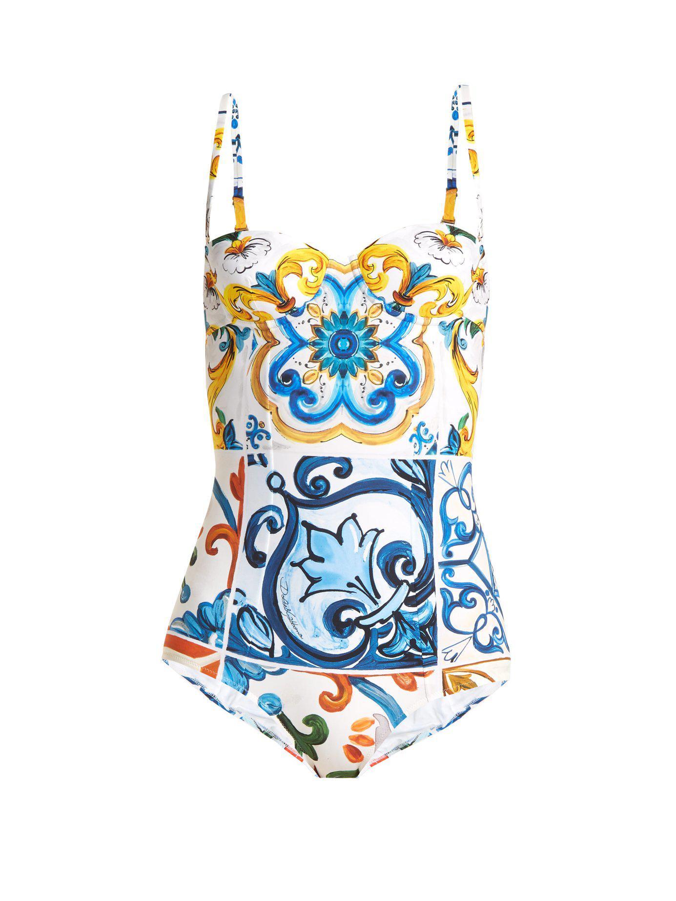 699e1a0667 Dolce   Gabbana Majolica-print Swimsuit in Blue - Save ...