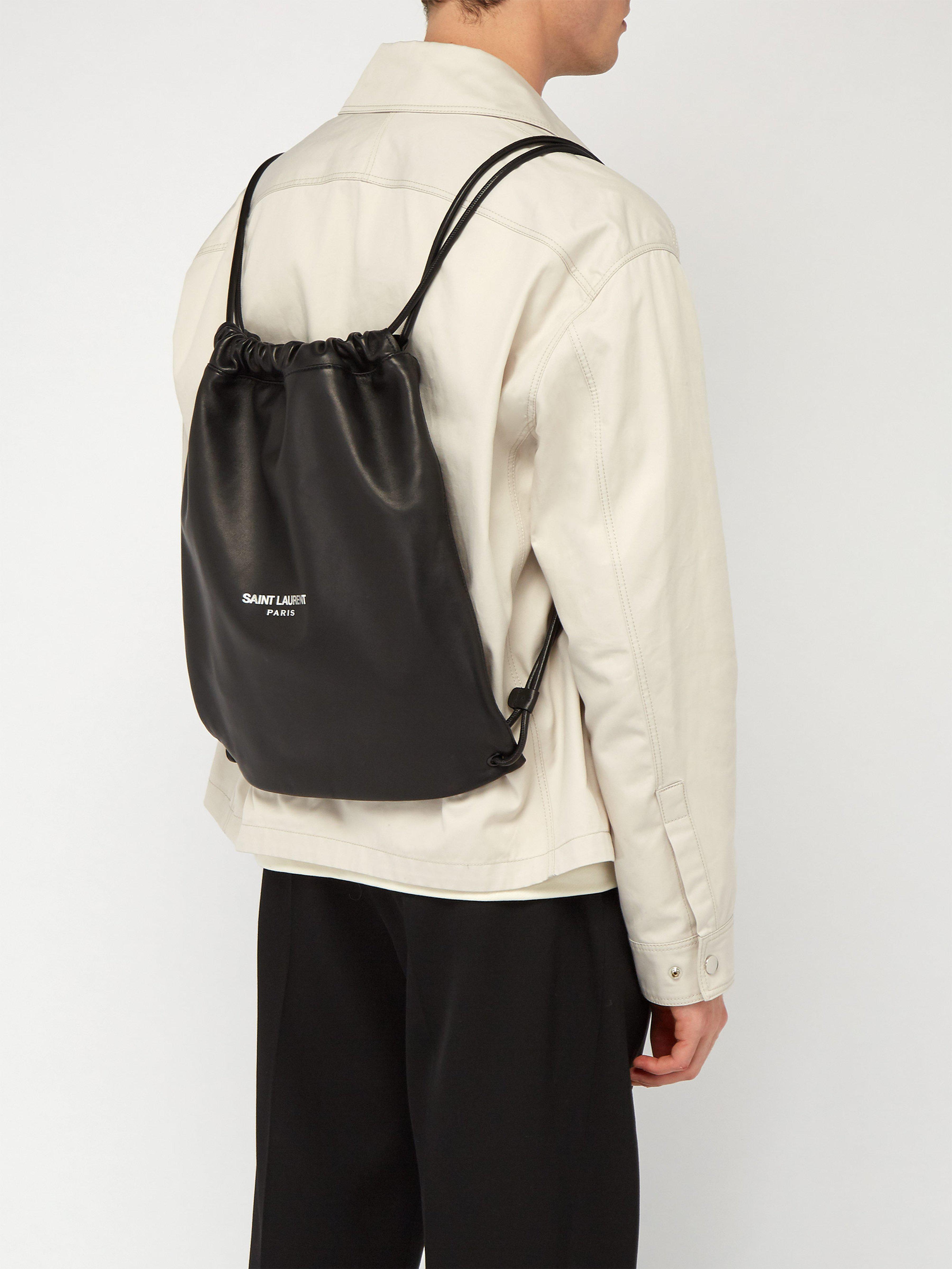 279231f36eb17 Saint Laurent Teddy Logo Print Leather Backpack in Black for Men - Lyst