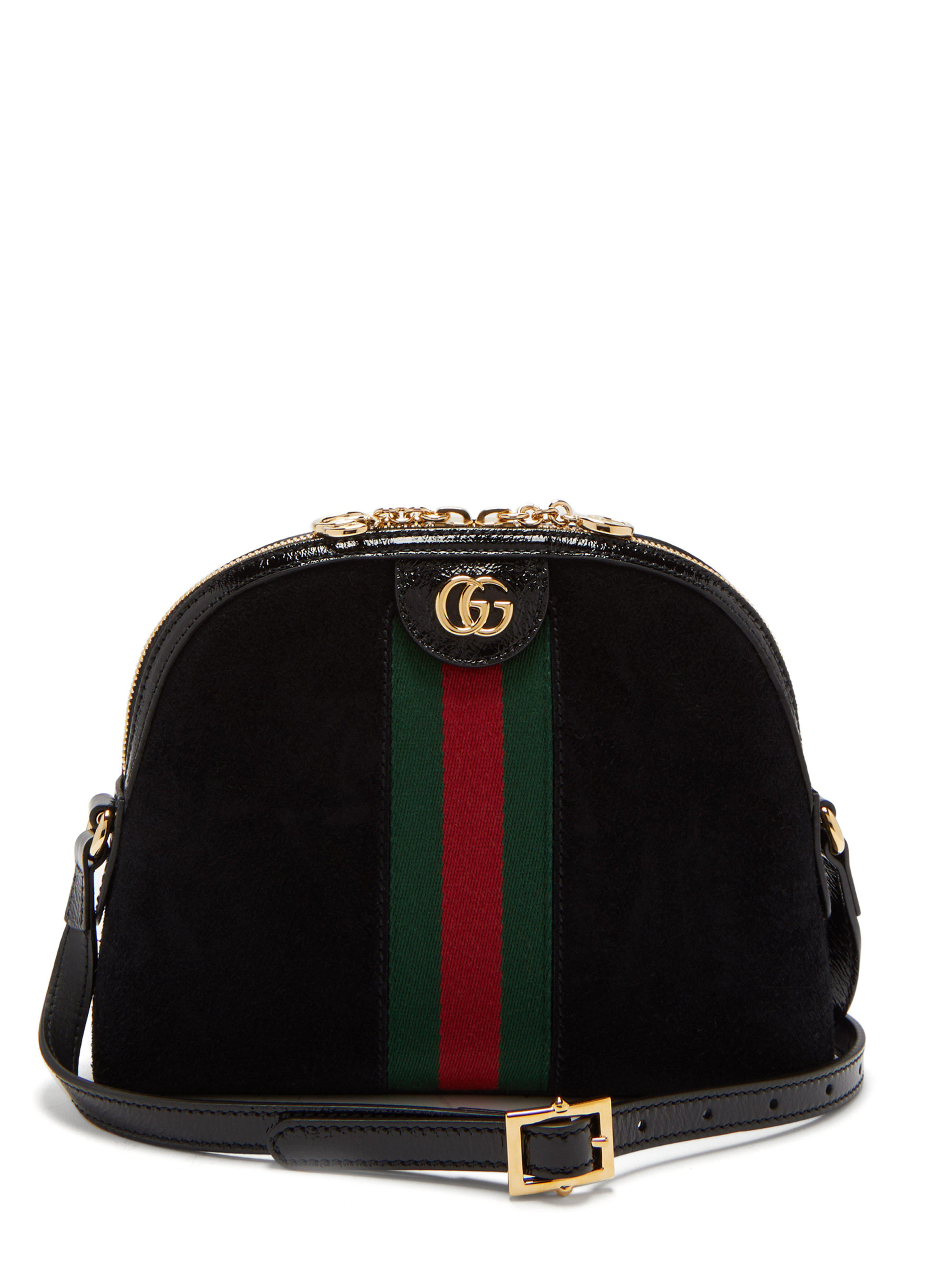 daaa1bb9ce7a Gucci Ophidia Gg Suede Cross Body Bag in Black - Lyst