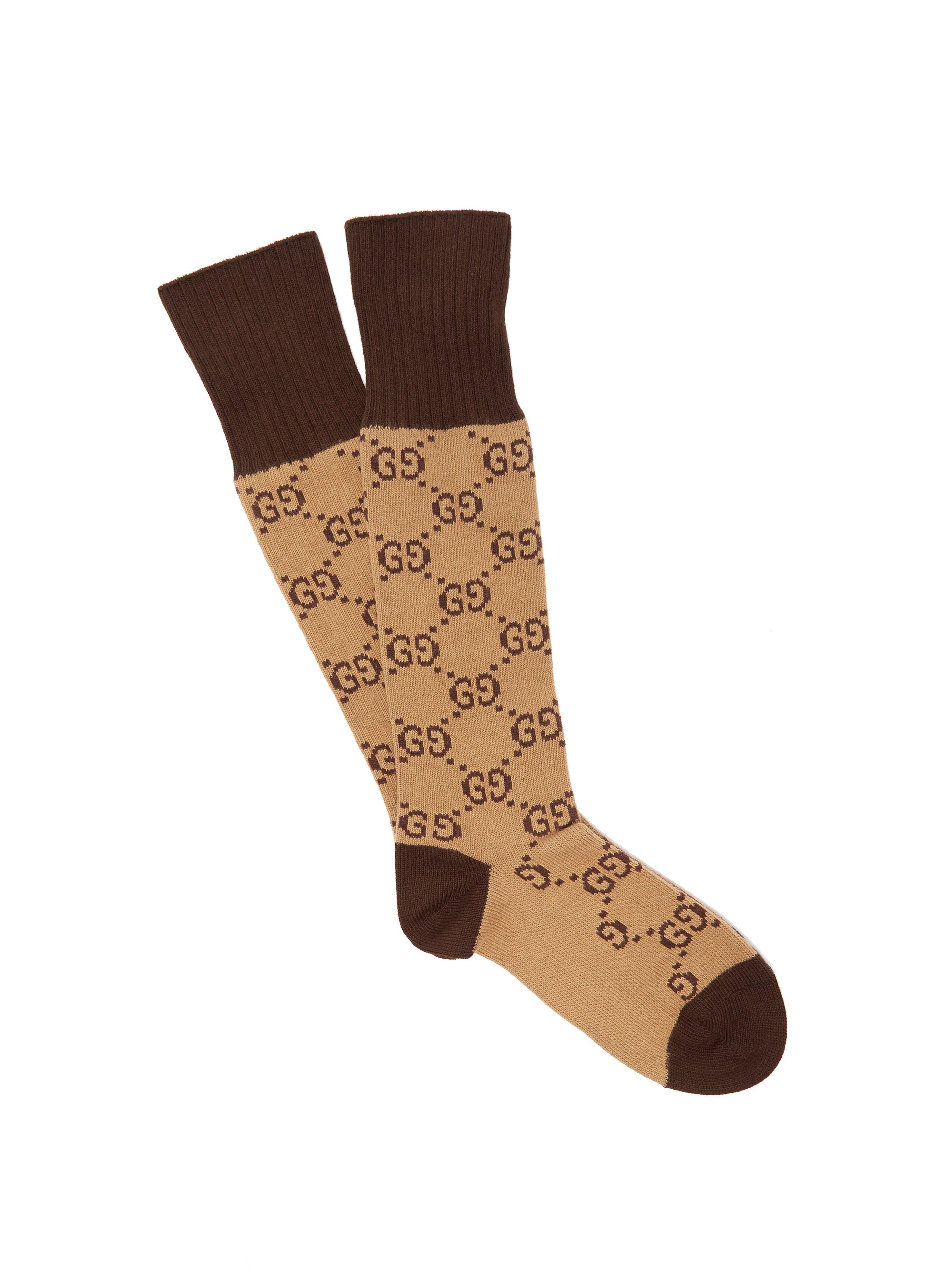 70b8a1a2a00 Lyst - Chaussettes en coton mélangé en intarsia GG Gucci pour homme ...
