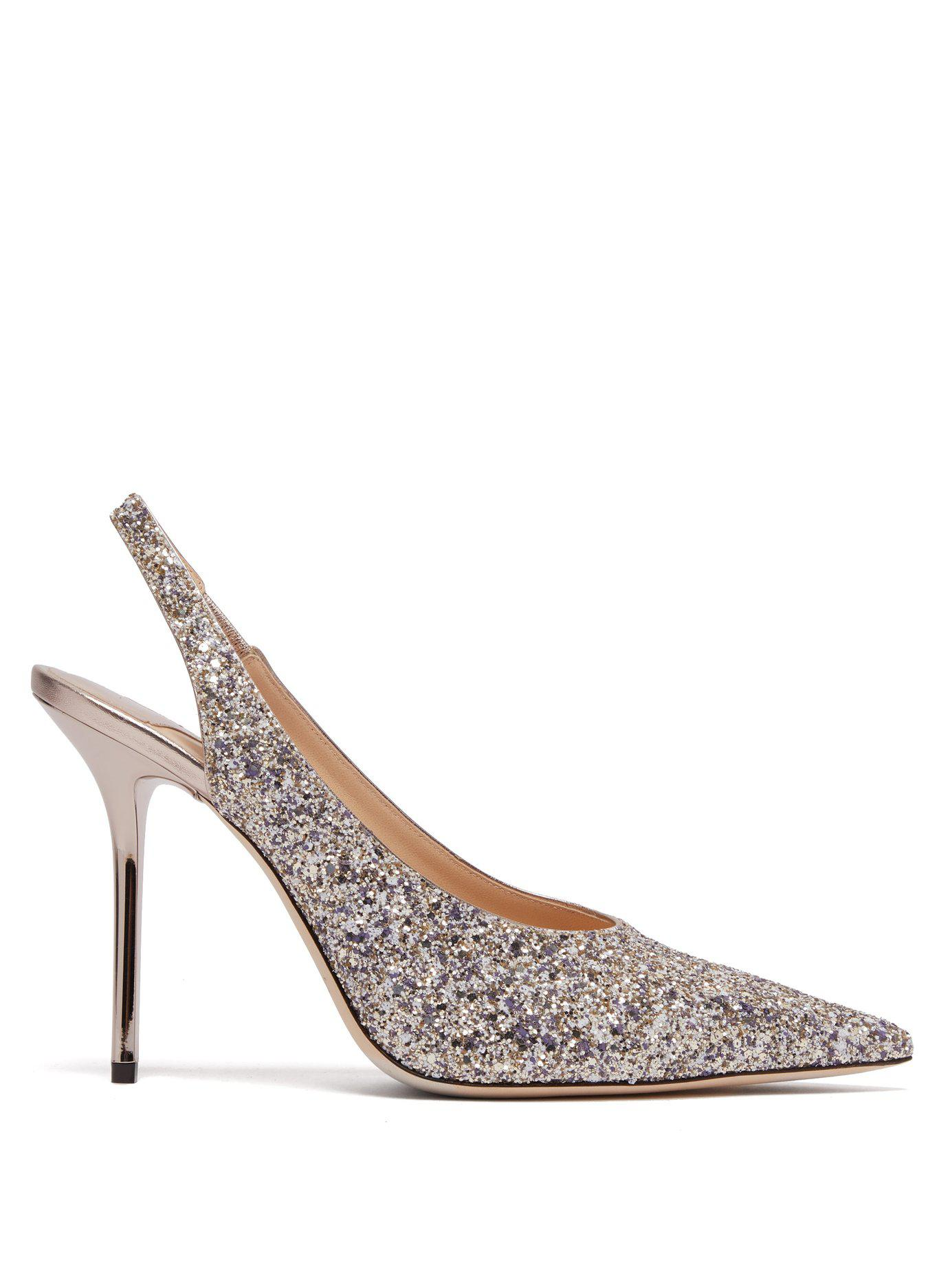 e13a9d3dcd03 Lyst - Jimmy Choo Ivy 100 Glitter Slingback Pumps in Metallic