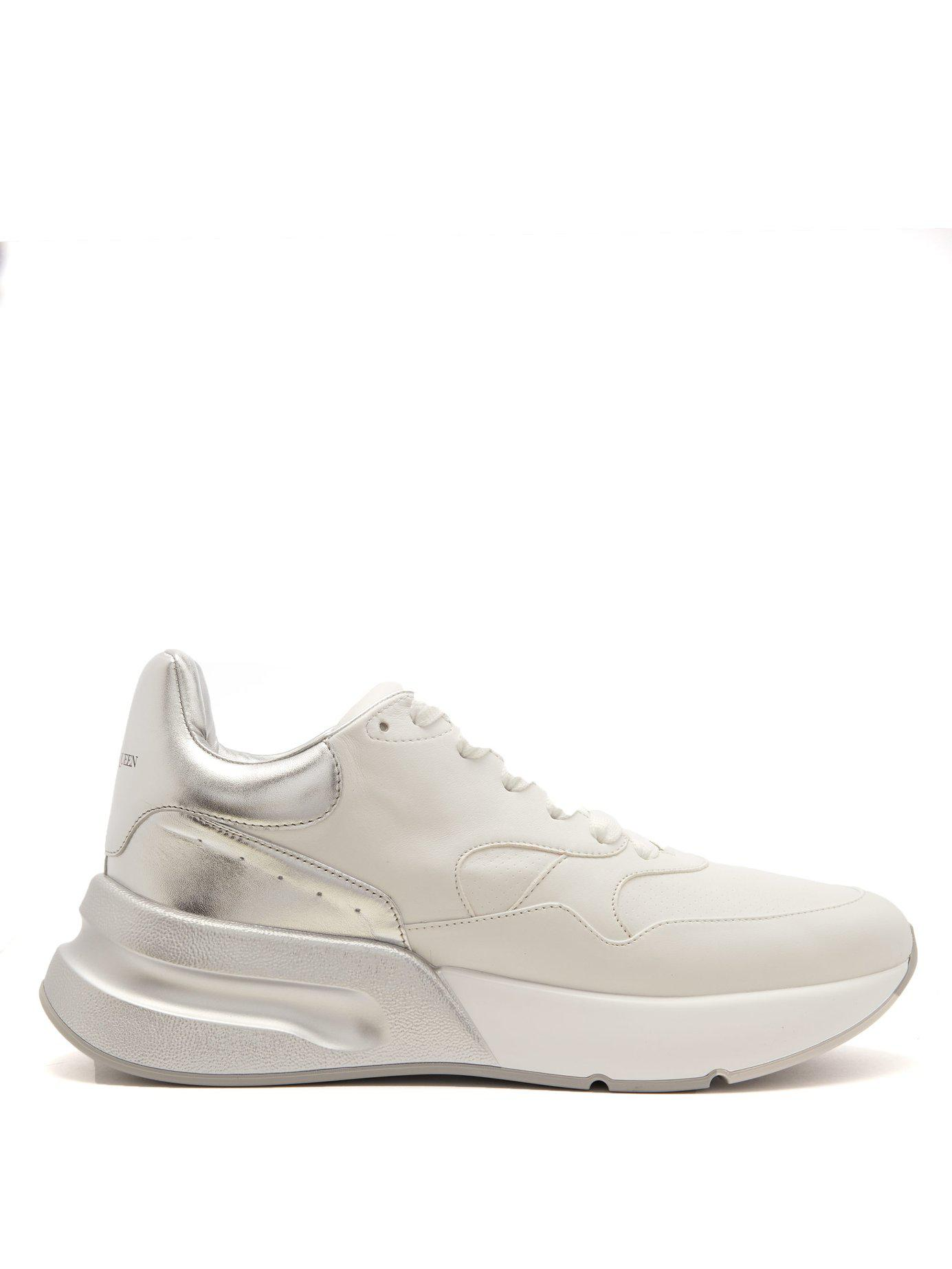 e0f4781a81ad Alexander McQueen. Men s White Runner Raised Sole Low Top Leather Trainers