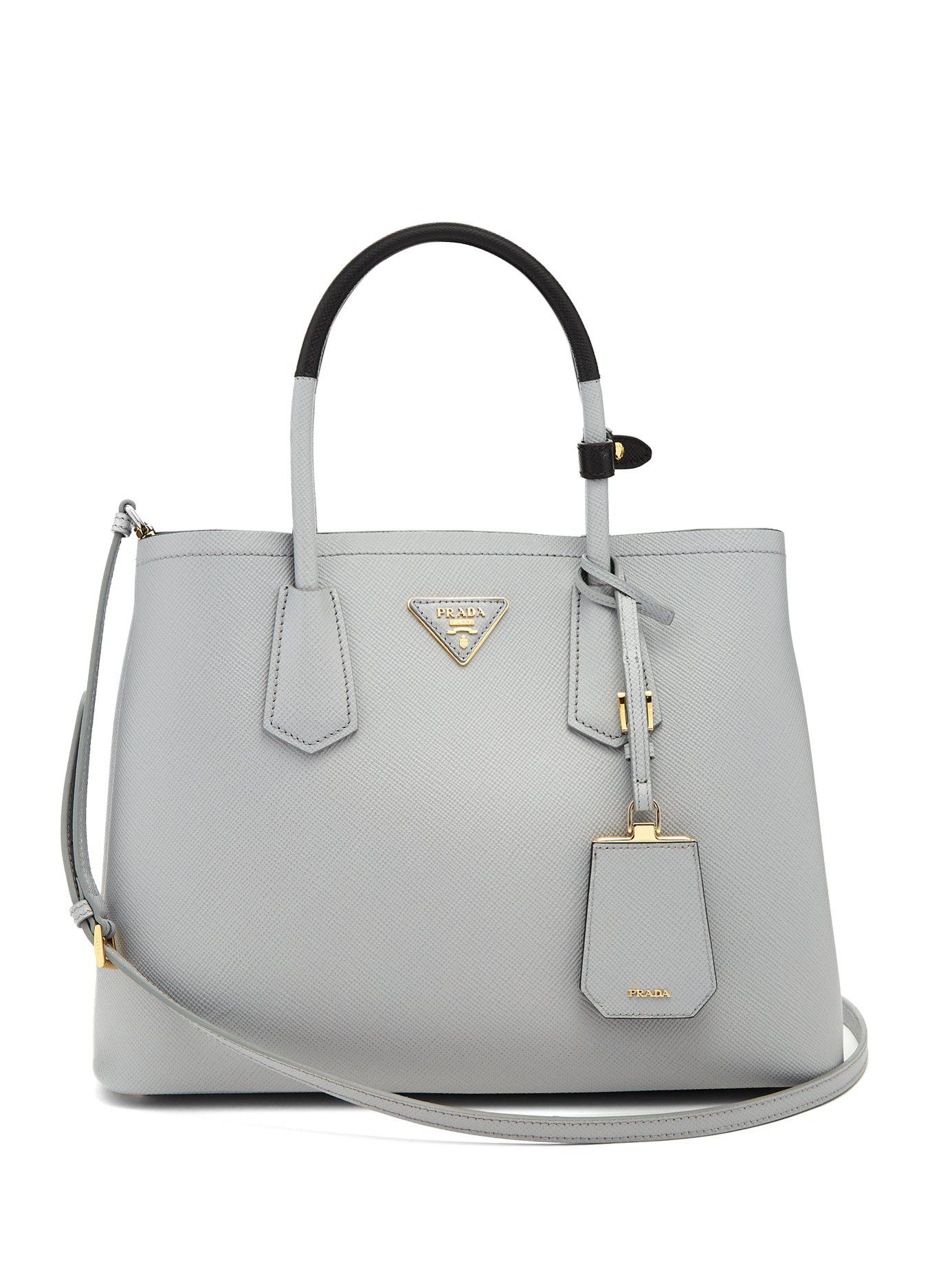 2d9d5bed546 greece large prada dual tote light gray 1df47 f508c  canada prada gray  double saffiano leather bag lyst. view fullscreen 9bb80 6780f