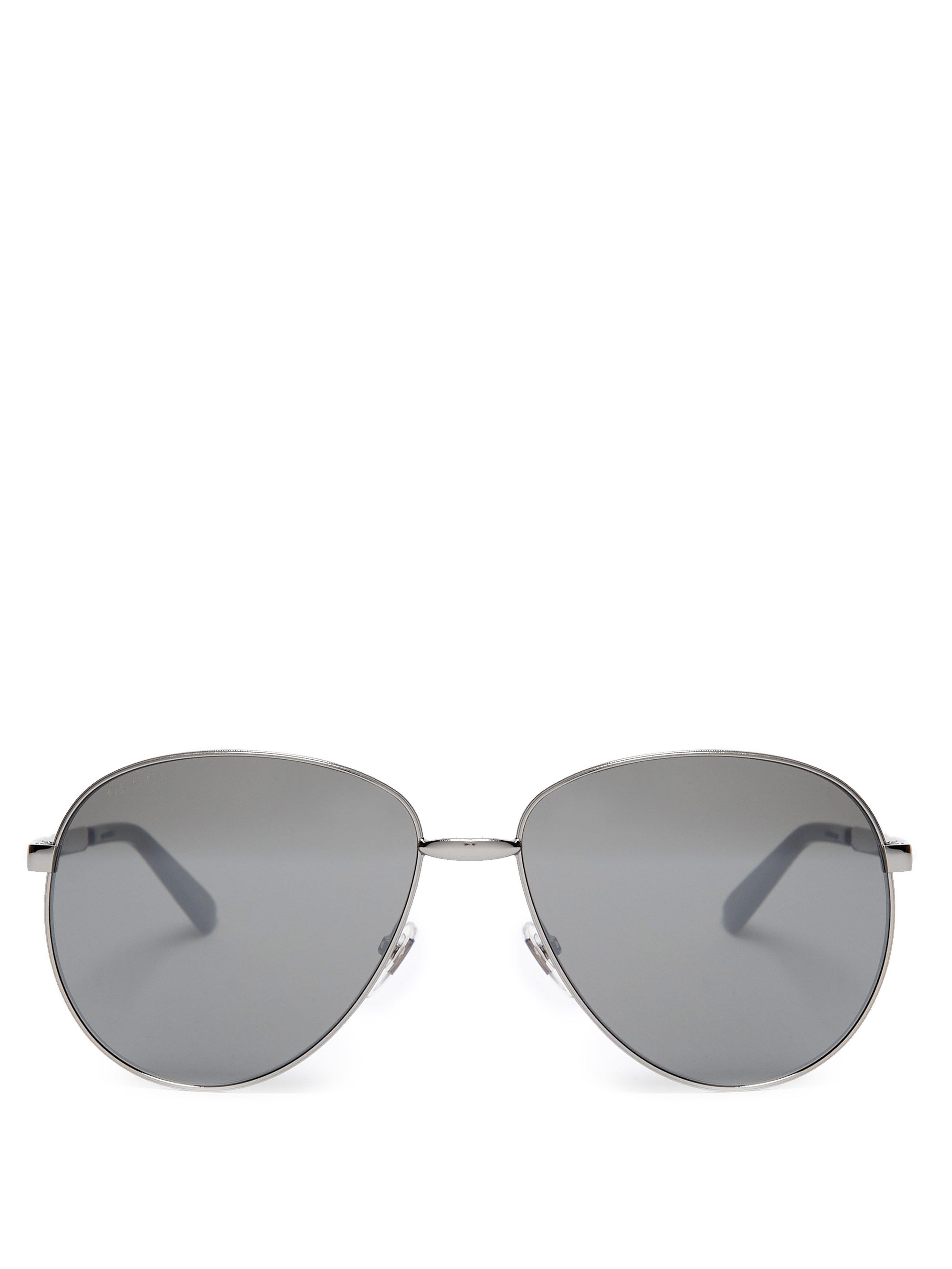 ae895511bba Gucci Web Stripe Aviator Metal Sunglasses in Metallic for Men - Lyst
