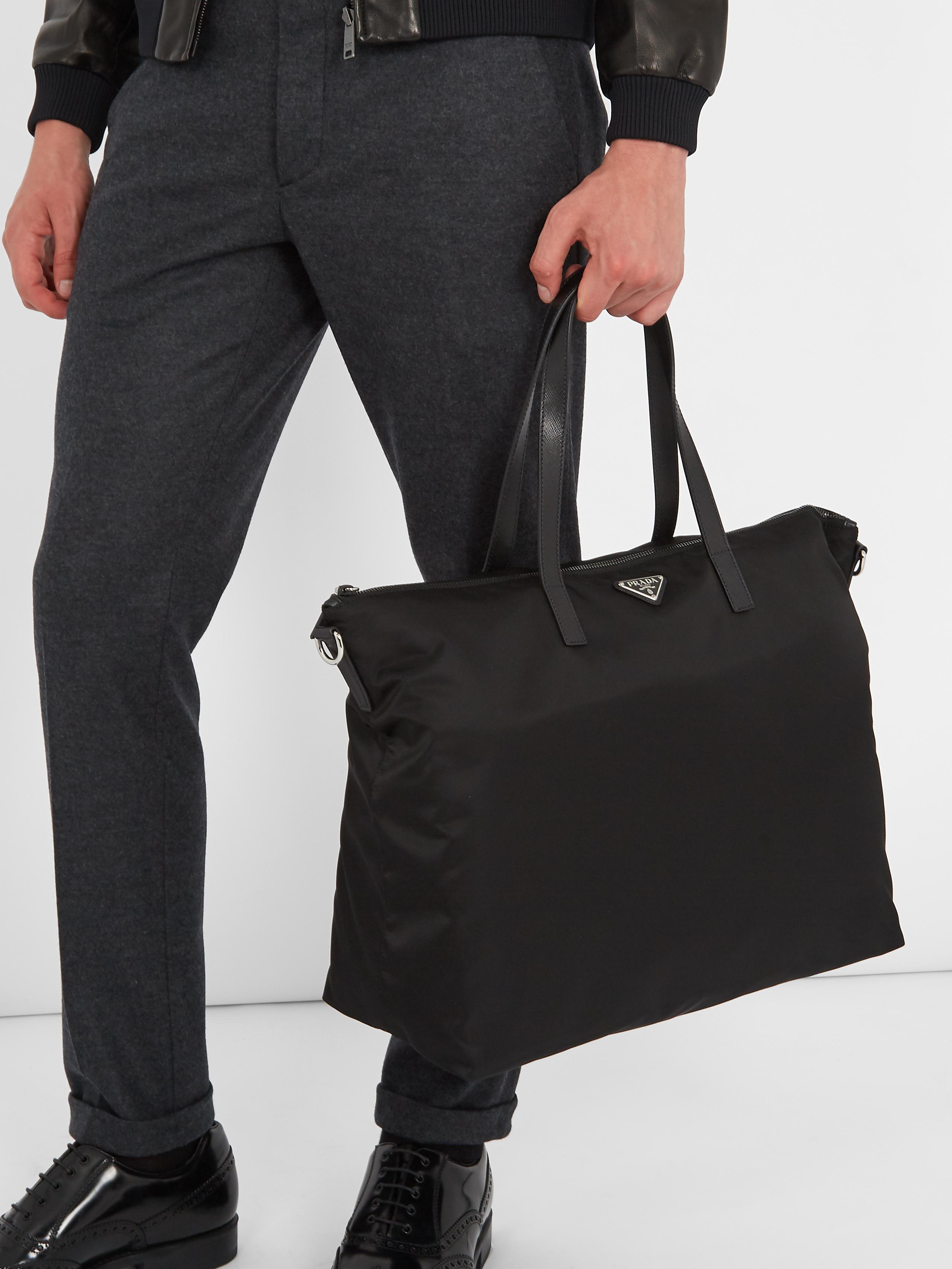 58688035efe832 Lyst - Prada Leather-trimmed Nylon Tote in Black for Men