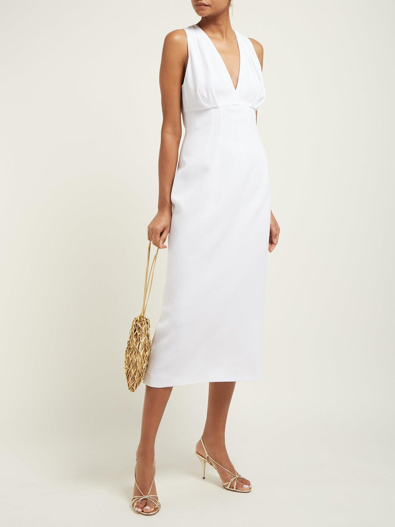 f8fab5c5be29 Lyst - Sara Battaglia Pleated Crepe Midi Dress in White