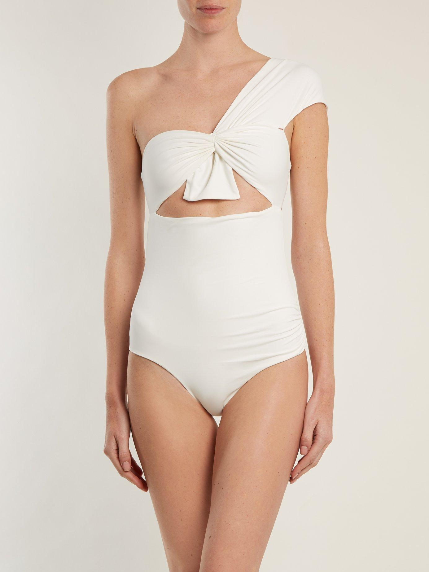 a0c15e62de665 Lyst - Marysia Swim Venice One Shoulder Cut Out Swimsuit in White