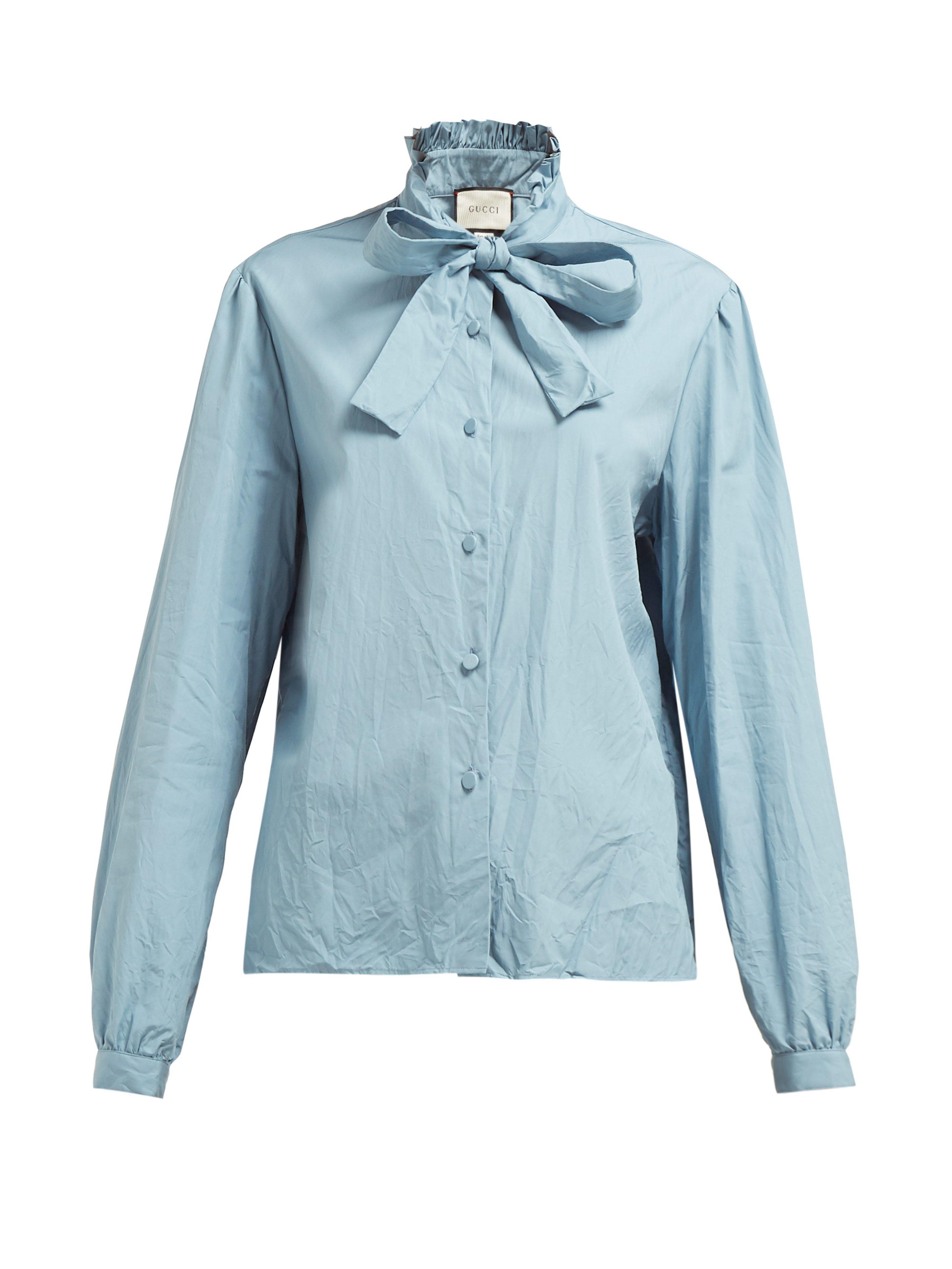 8c84cc100 Gucci Ruffled Pussy Bow Crinkled Cotton Poplin Shirt in Blue - Lyst