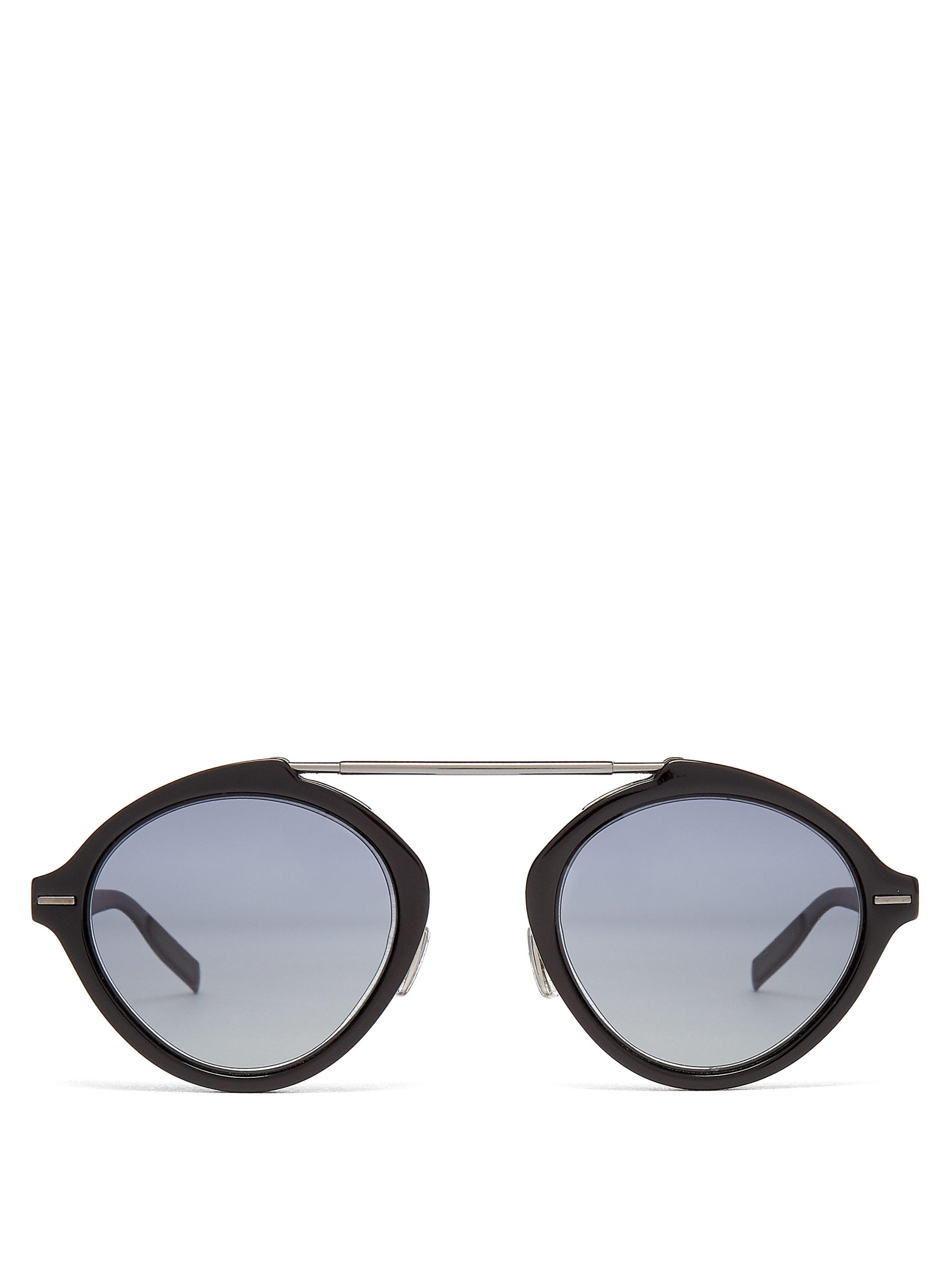 fca6e3651aff Dior Homme System Round Frame Sunglasses in Black for Men - Lyst